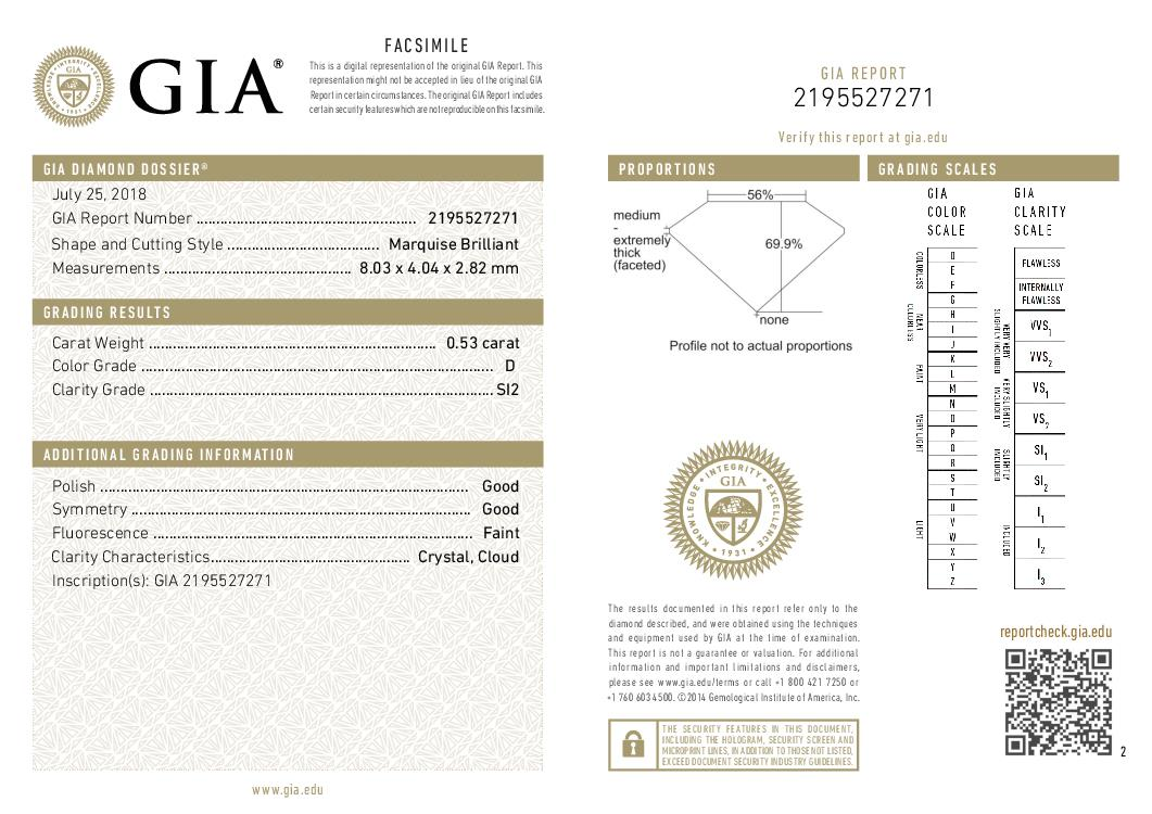 This is a 0.53 carat marquise shape, D color, SI2 clarity natural diamond accompanied by a GIA grading report.