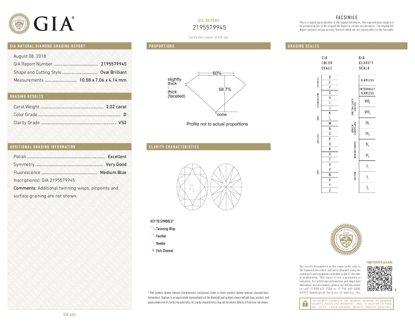 This is a 2.02 carat oval shape, D color, VS2 clarity natural diamond accompanied by a GIA grading report.