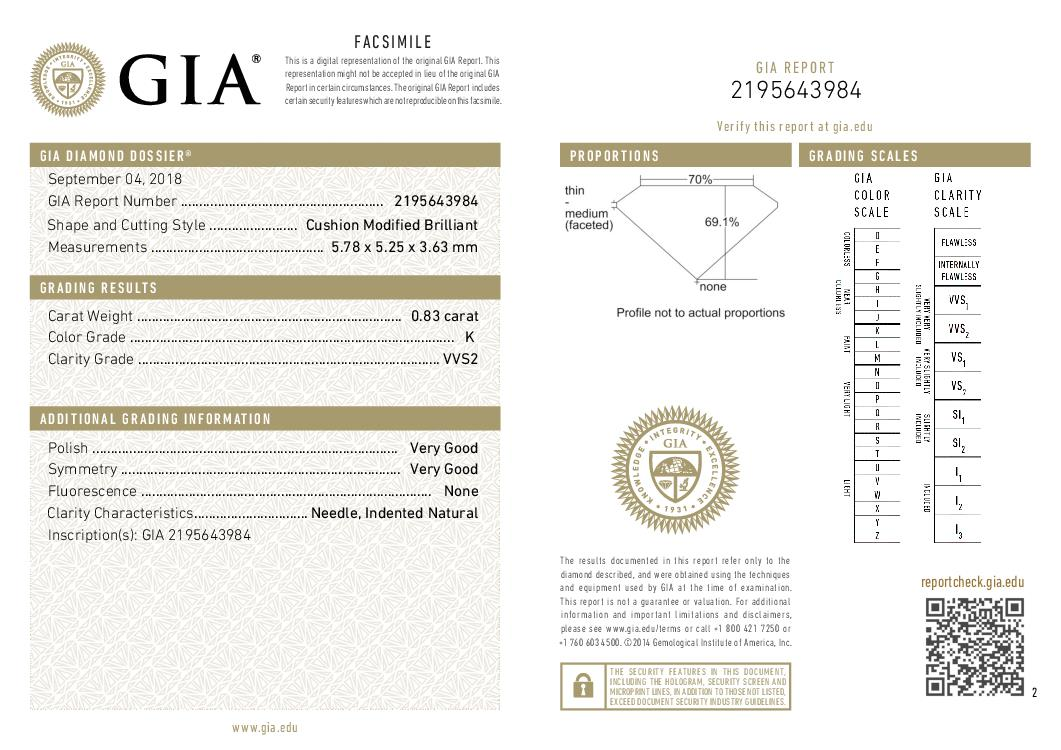 This is a 0.83 carat cushion shape, K color, VVS2 clarity natural diamond accompanied by a GIA grading report.