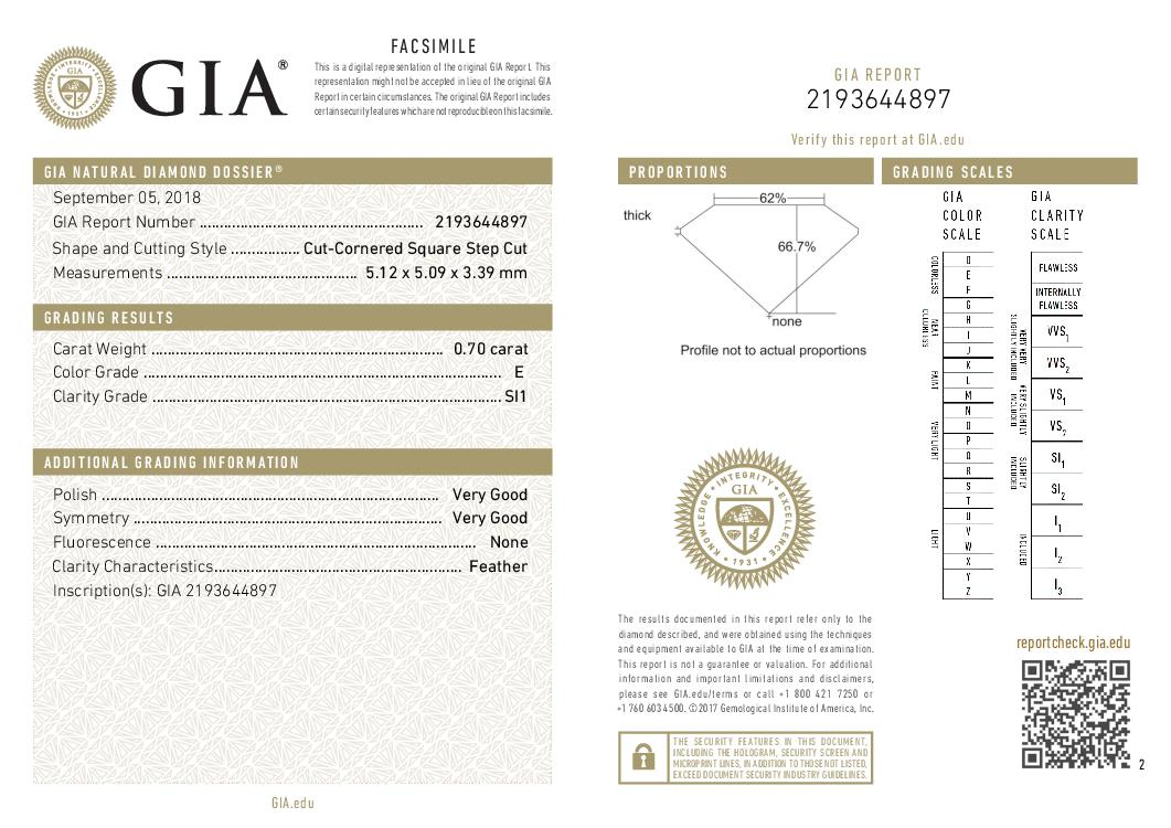 This is a 0.70 carat asscher shape, E color, SI1 clarity natural diamond accompanied by a GIA grading report.