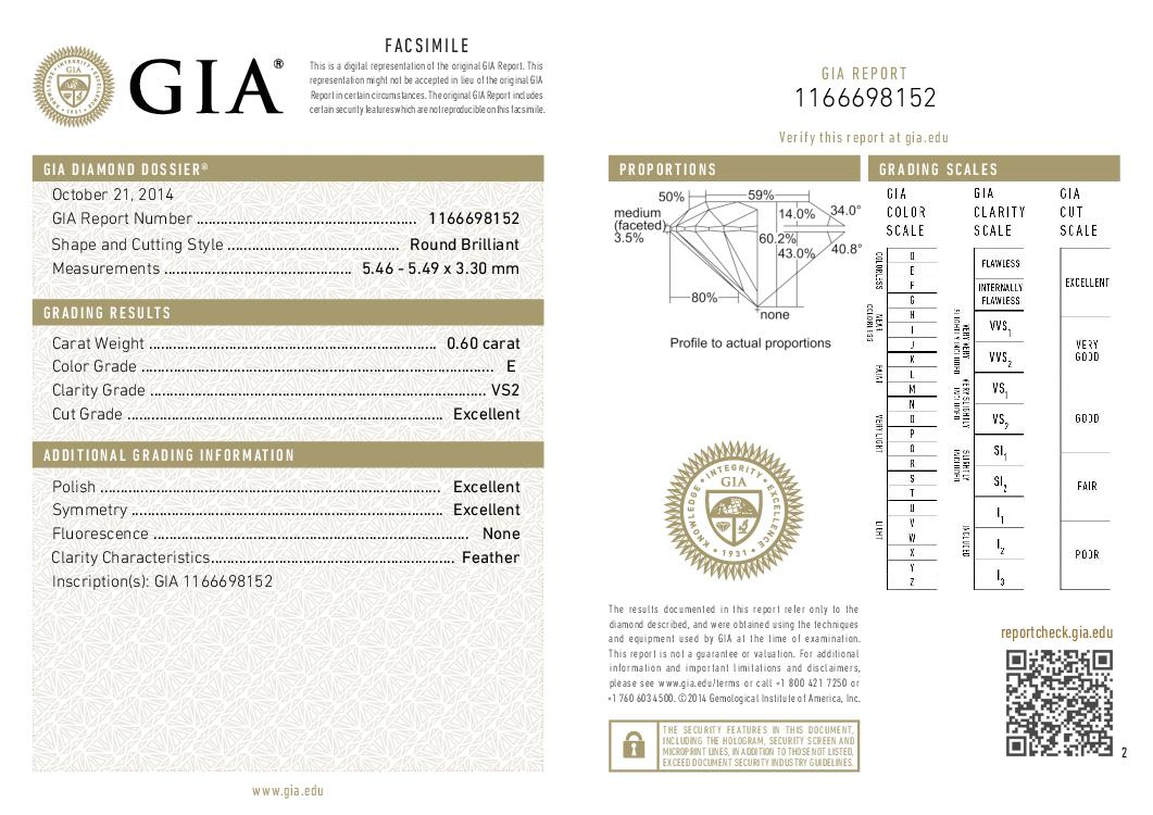 This is a 0.60 carat round shape, E color, VS2 clarity natural diamond accompanied by a GIA grading report.