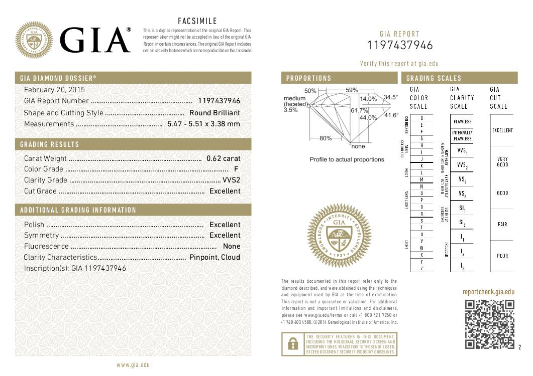 This is a 0.62 carat round shape, F color, VVS2 clarity natural diamond accompanied by a GIA grading report.