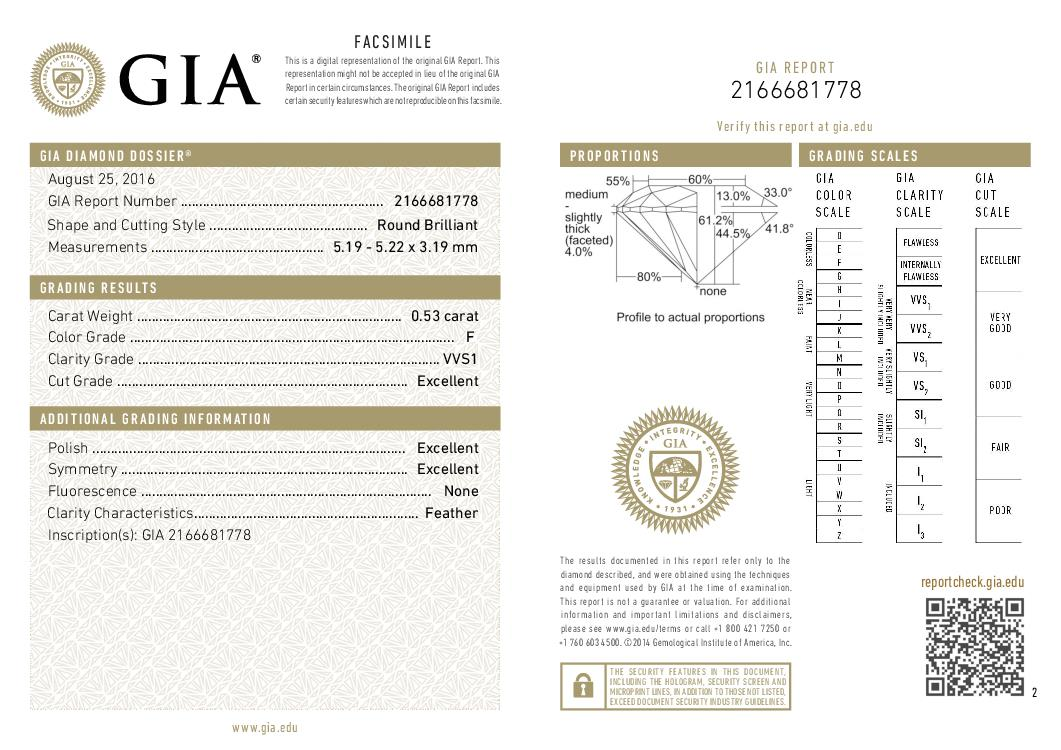 This is a 0.53 carat round shape, F color, VVS1 clarity natural diamond accompanied by a GIA grading report.