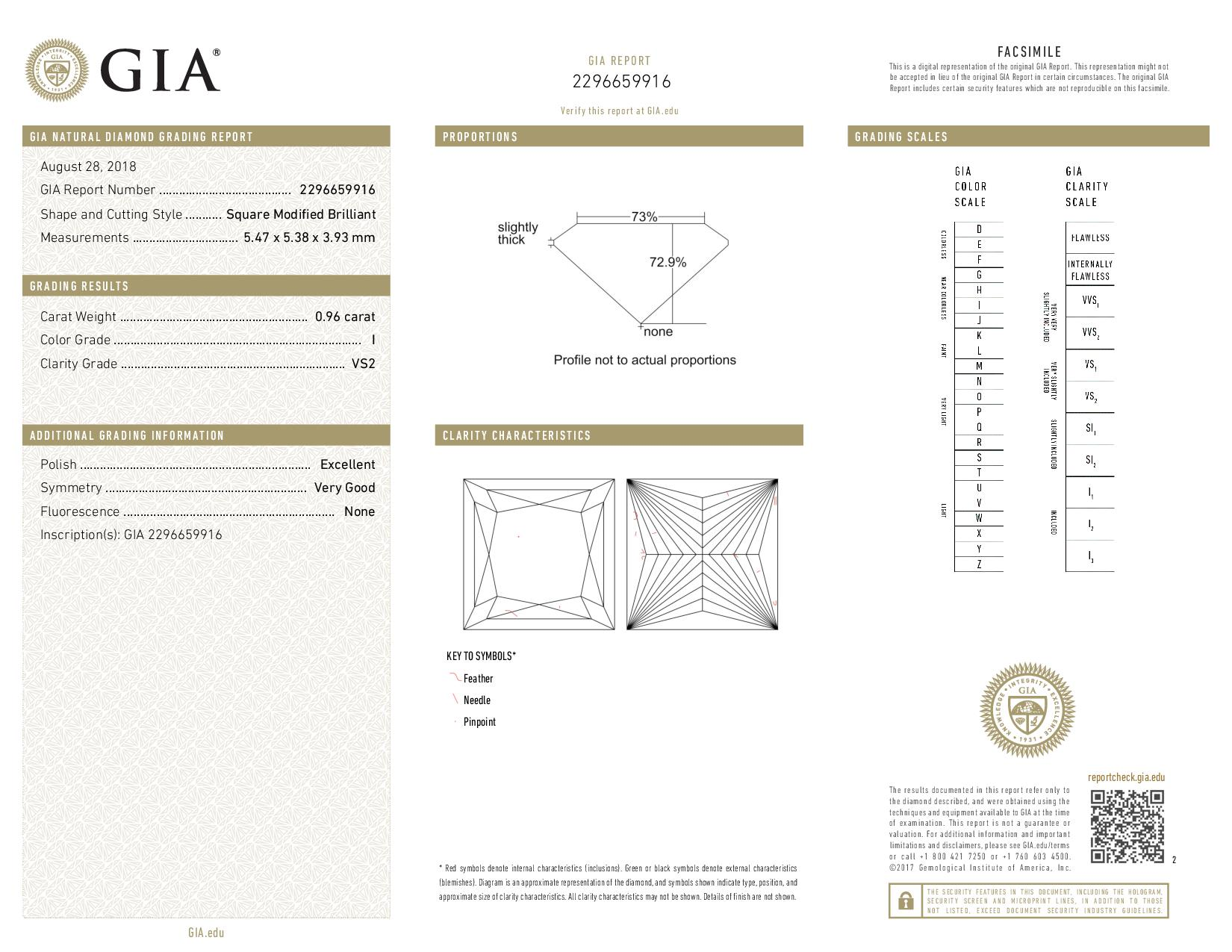This is a 0.96 carat princess shape, I color, VS2 clarity natural diamond accompanied by a GIA grading report.