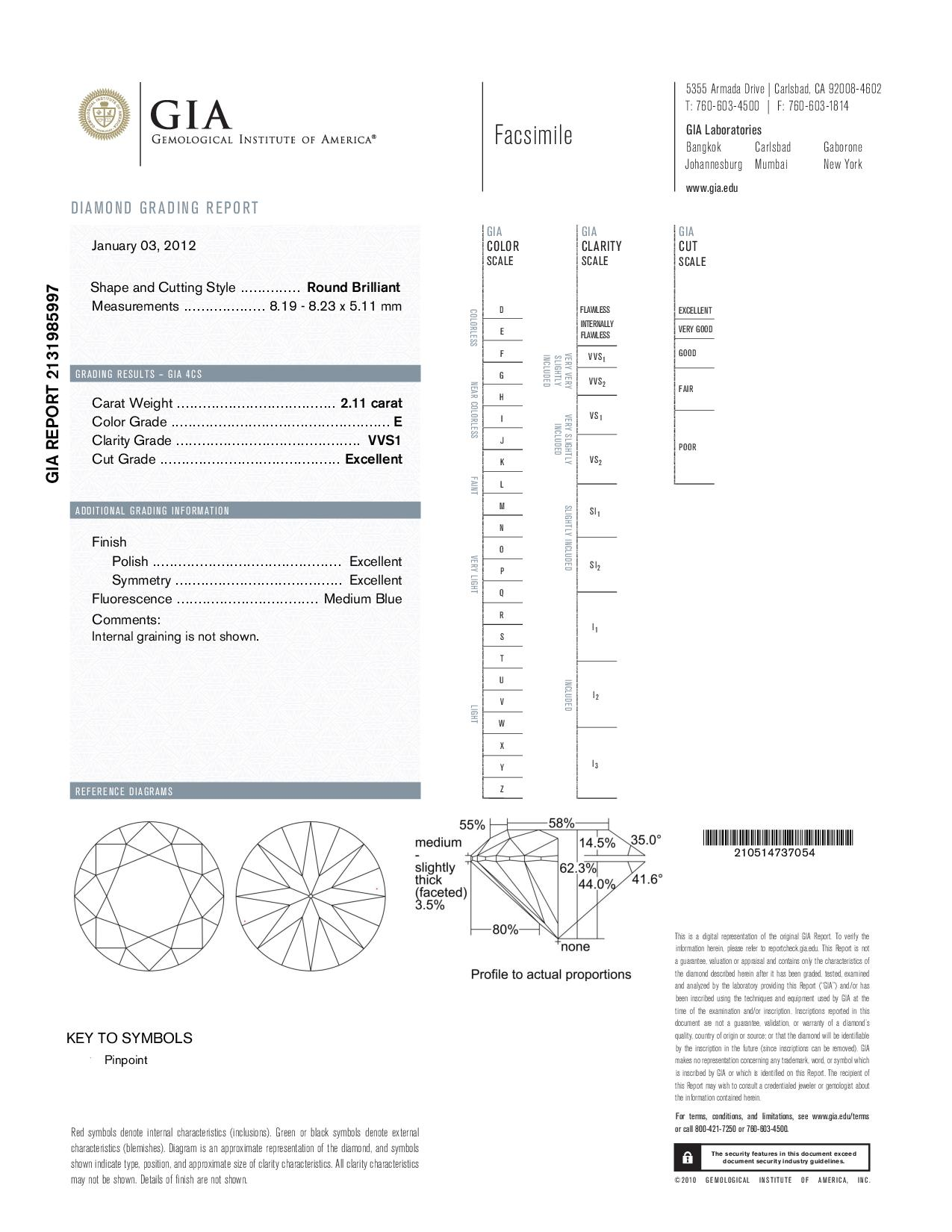 This is a 2.11 carat round shape, E color, VVS1 clarity natural diamond accompanied by a GIA grading report.