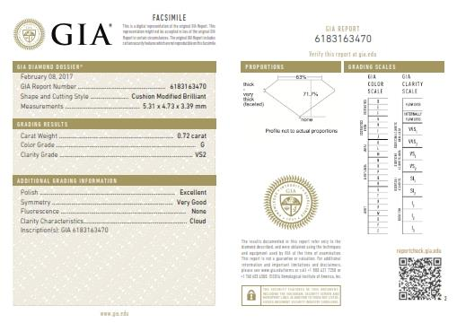 This is a 0.72 carat cushion shape, G color, VS2 clarity natural diamond accompanied by a GIA grading report.