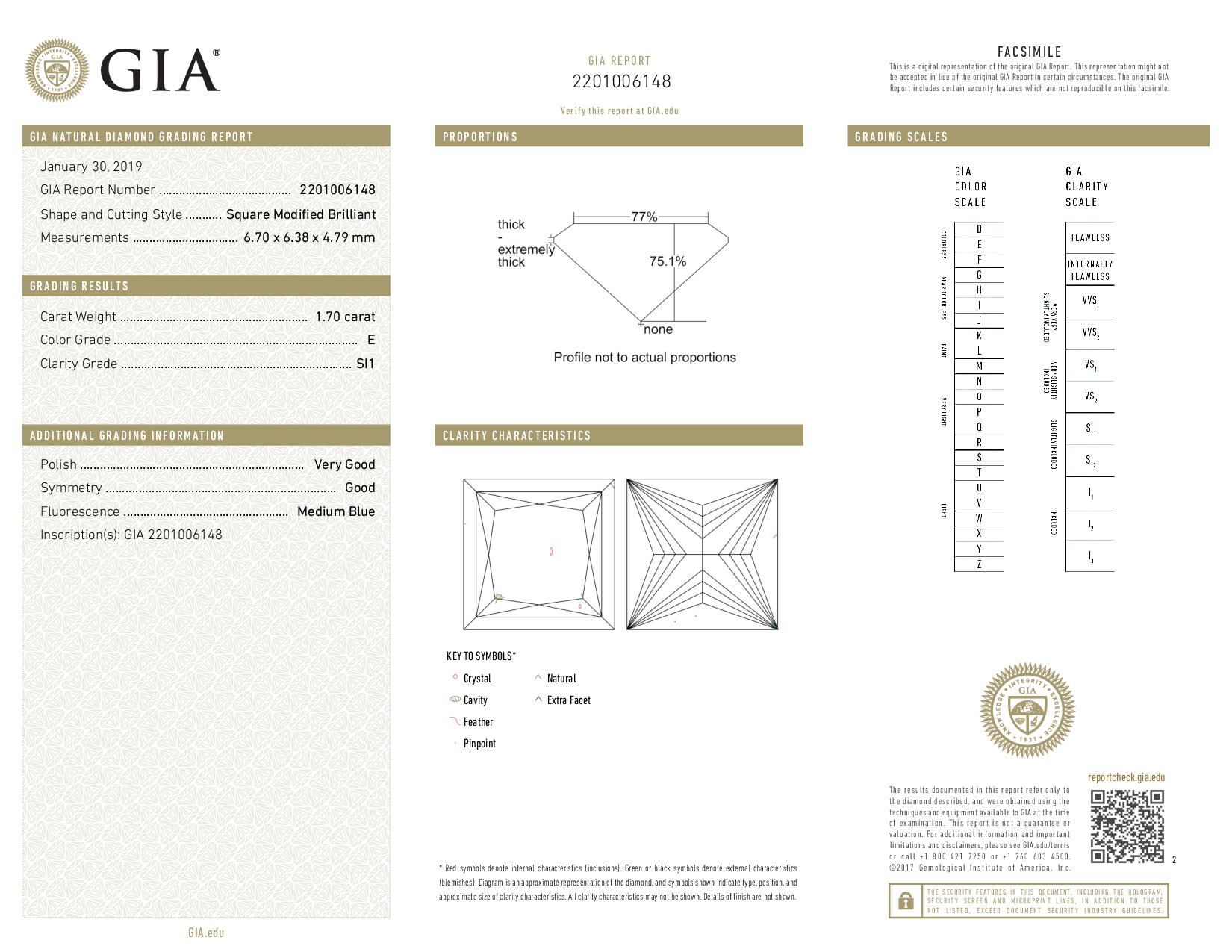 This is a 1.70 carat princess shape, E color, SI1 clarity natural diamond accompanied by a GIA grading report.