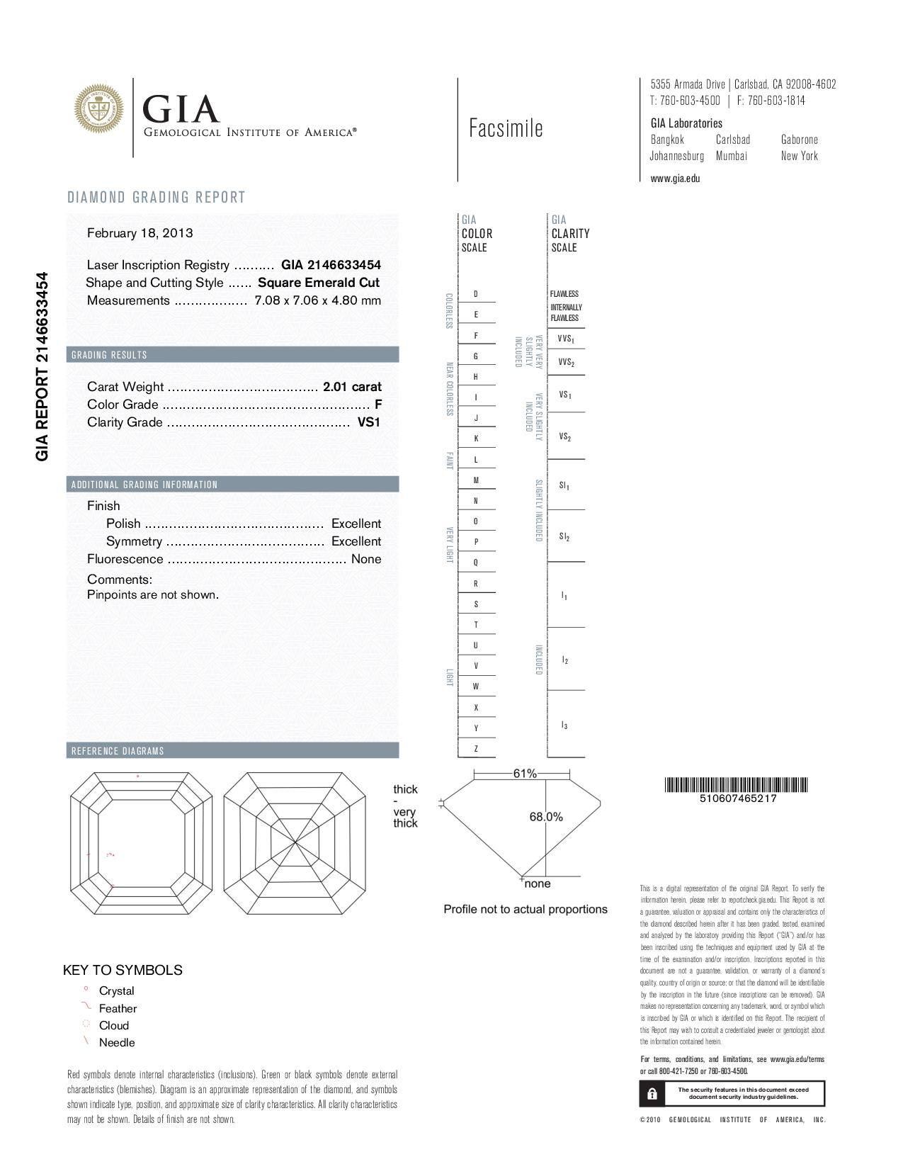 This is a 2.01 carat asscher shape, F color, VS1 clarity natural diamond accompanied by a GIA grading report.