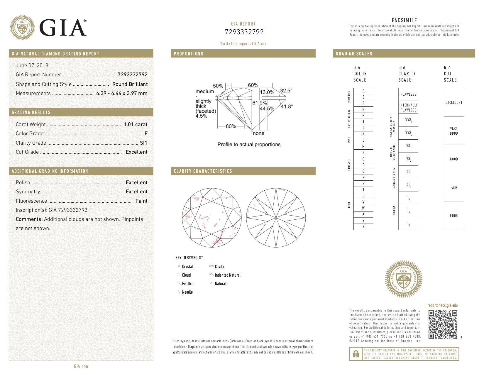 This is a 1.01 carat round shape, F color, SI1 clarity natural diamond accompanied by a GIA grading report.