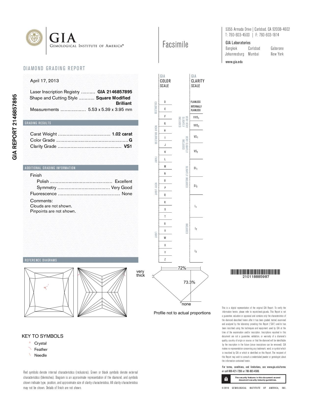 This is a 1.02 carat princess shape, G color, VS1 clarity natural diamond accompanied by a GIA grading report.