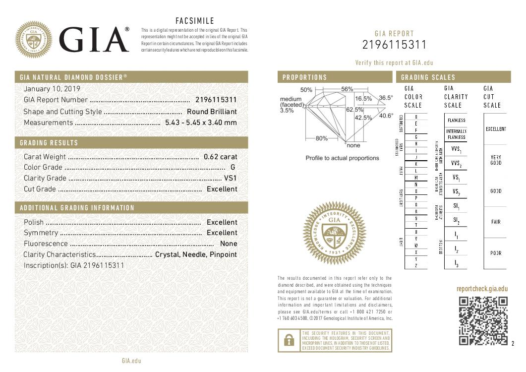 This is a 0.62 carat round shape, G color, VS1 clarity natural diamond accompanied by a GIA grading report.