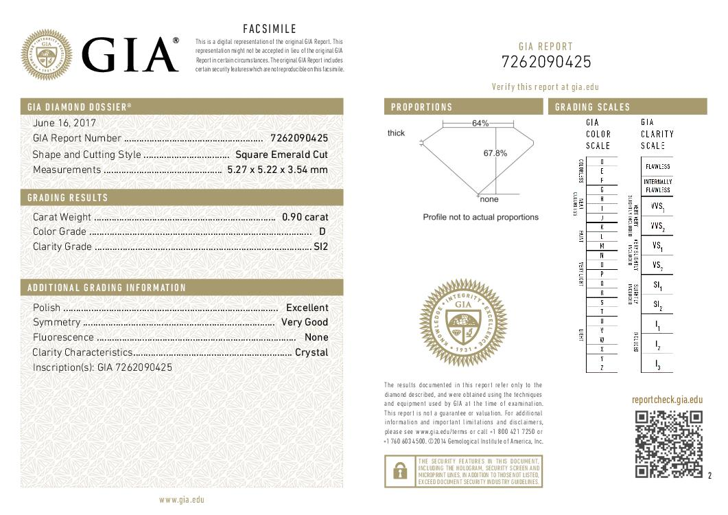 This is a 0.90 carat asscher shape, D color, SI2 clarity natural diamond accompanied by a GIA grading report.