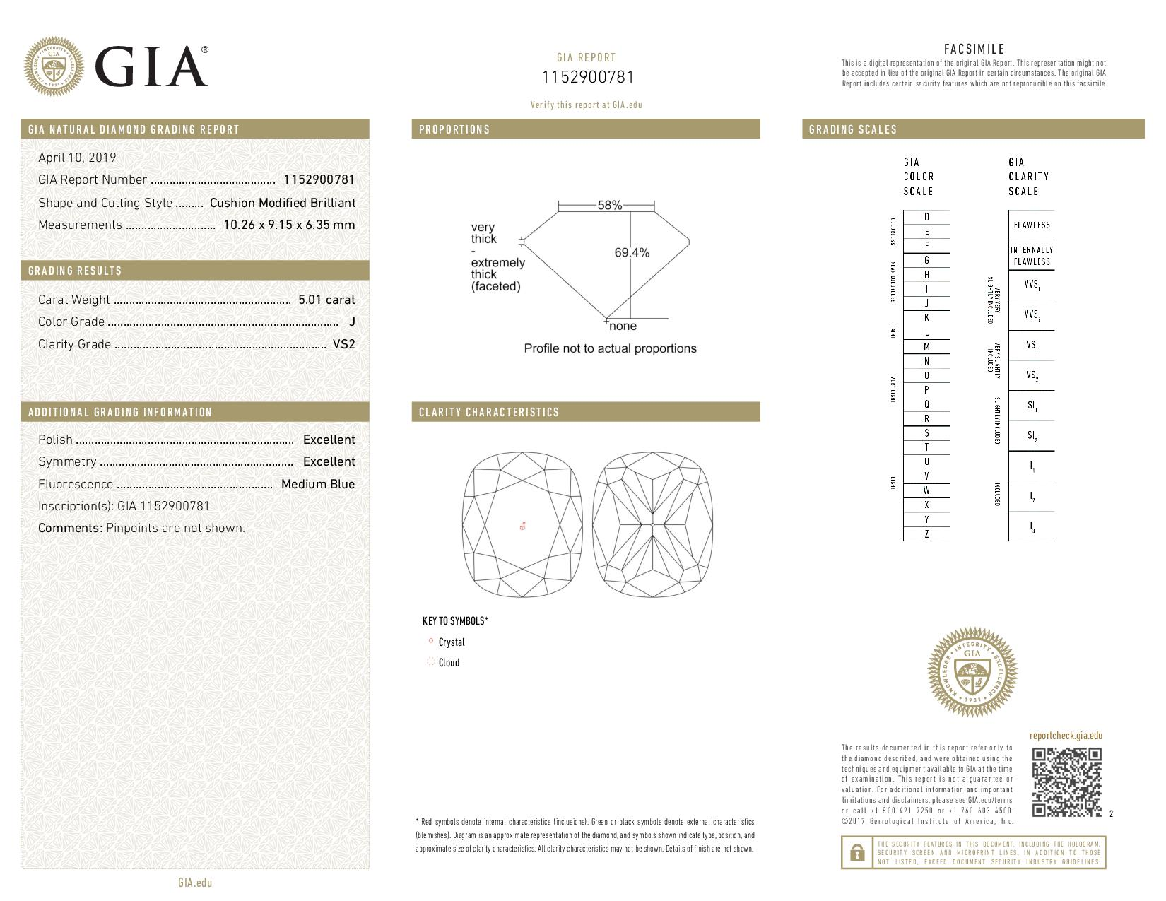 This is a 5.01 carat cushion shape, J color, VS2 clarity natural diamond accompanied by a GIA grading report.
