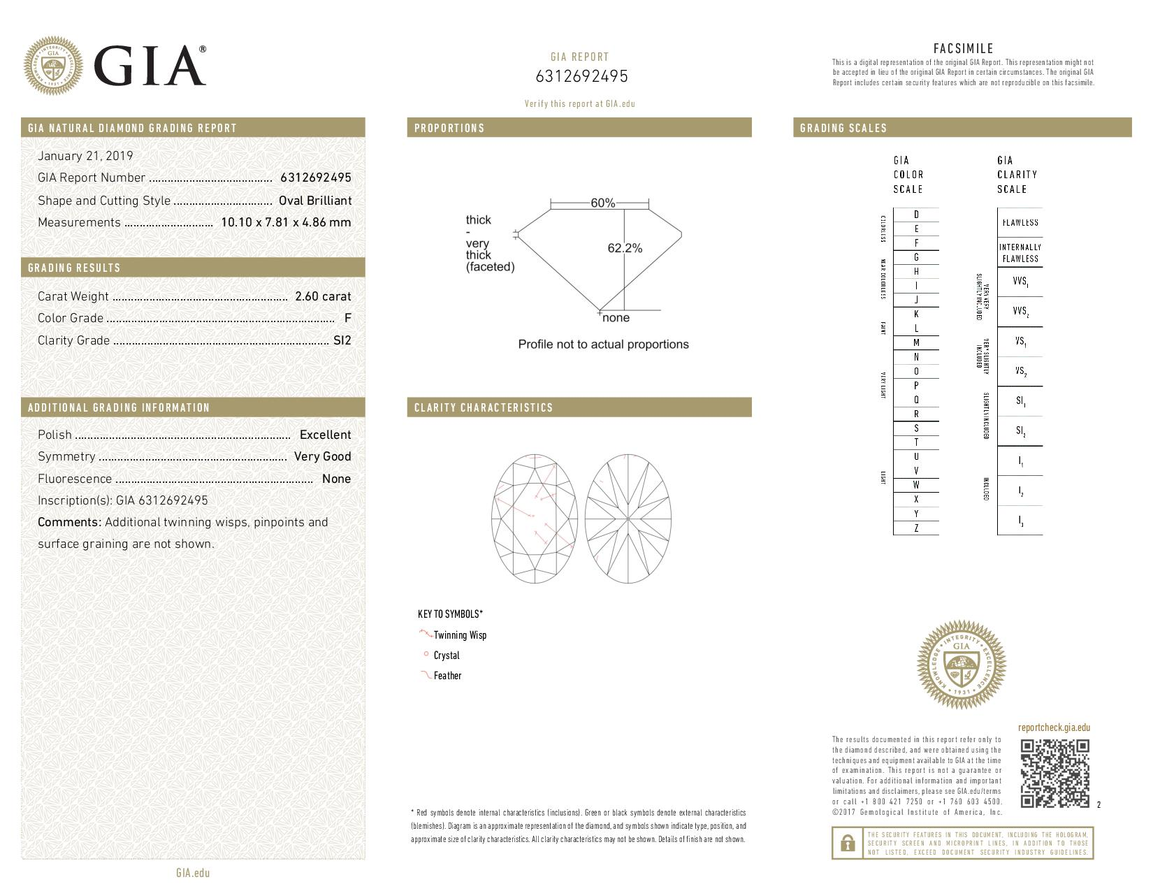 This is a 2.60 carat oval shape, F color, SI2 clarity natural diamond accompanied by a GIA grading report.