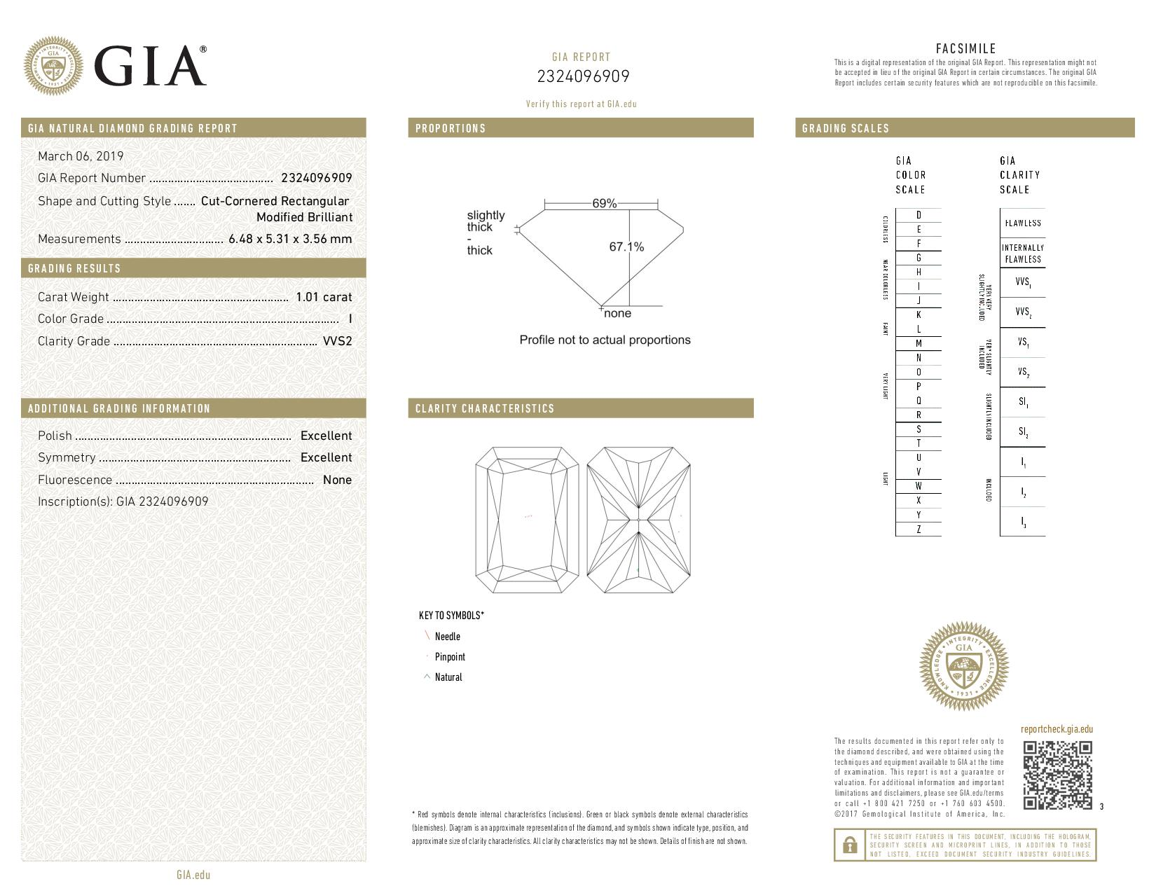 This is a 1.01 carat radiant shape, I color, VVS2 clarity natural diamond accompanied by a GIA grading report.