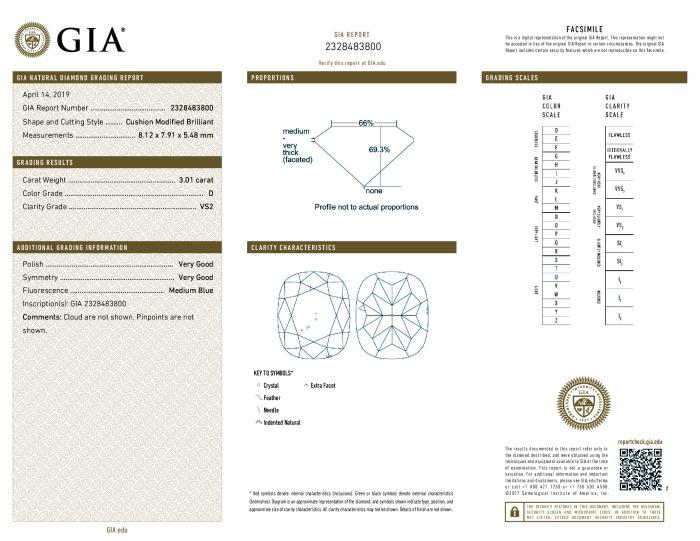 This is a 3.01 carat cushion shape, D color, VS2 clarity natural diamond accompanied by a GIA grading report.