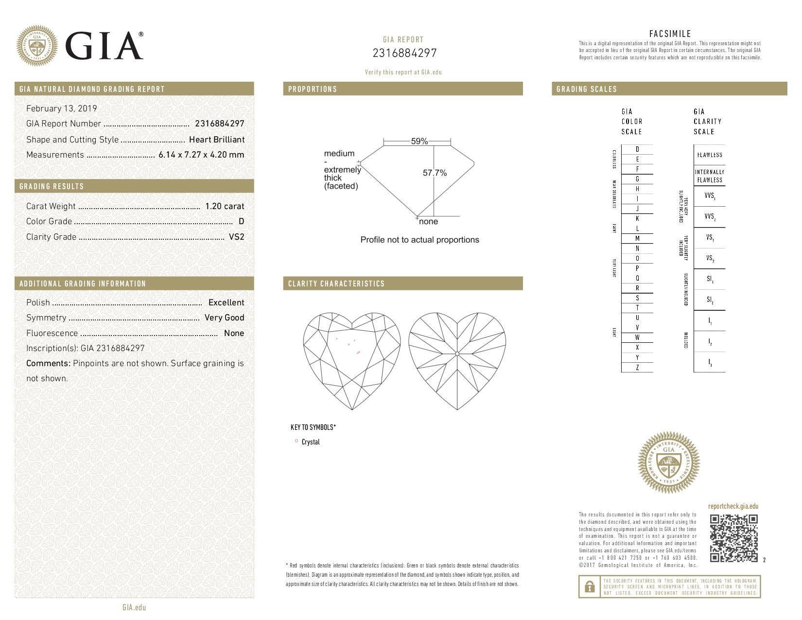 This is a 1.20 carat heart shape, D color, VS2 clarity natural diamond accompanied by a GIA grading report.