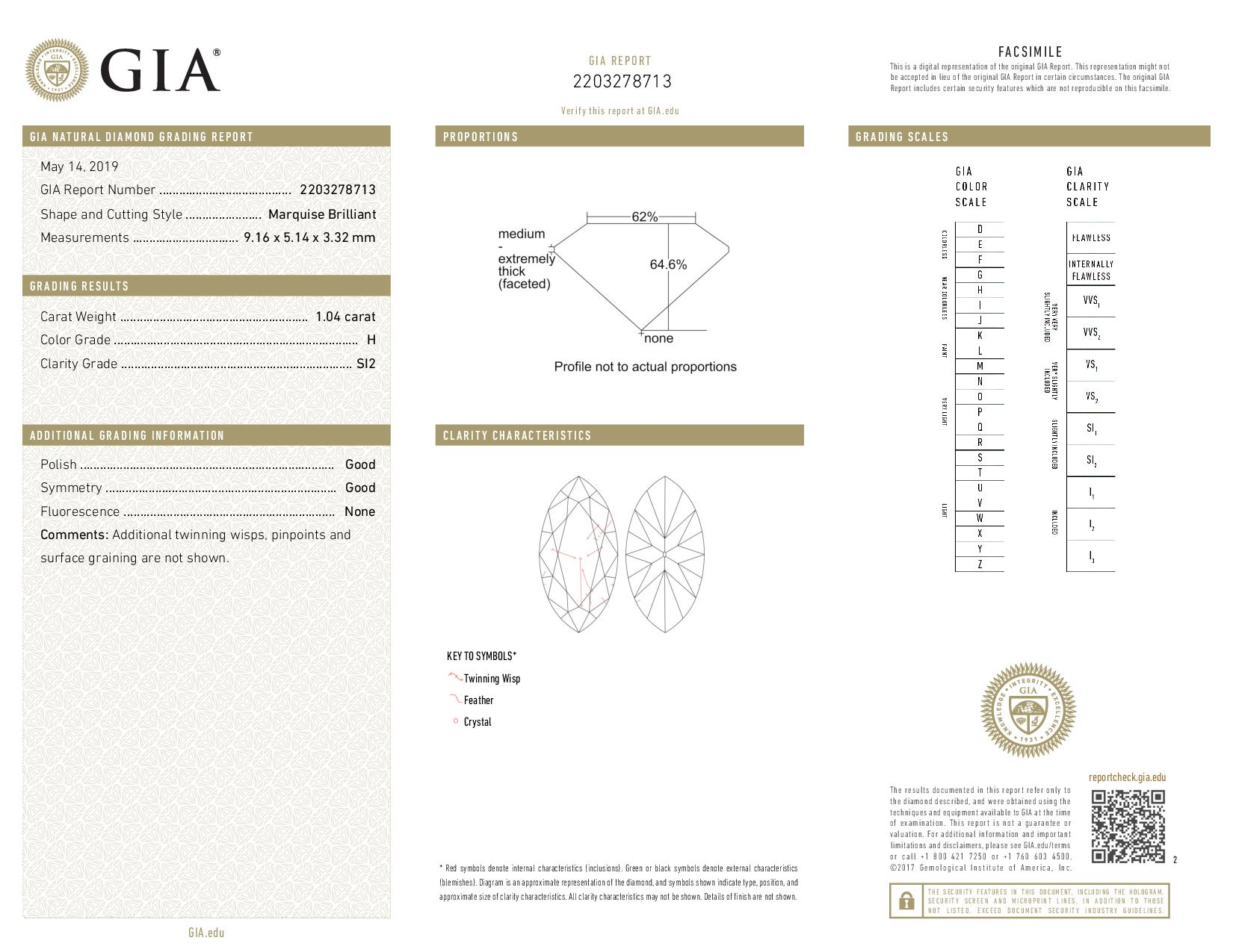 This is a 1.04 carat marquise shape, H color, SI2 clarity natural diamond accompanied by a GIA grading report.