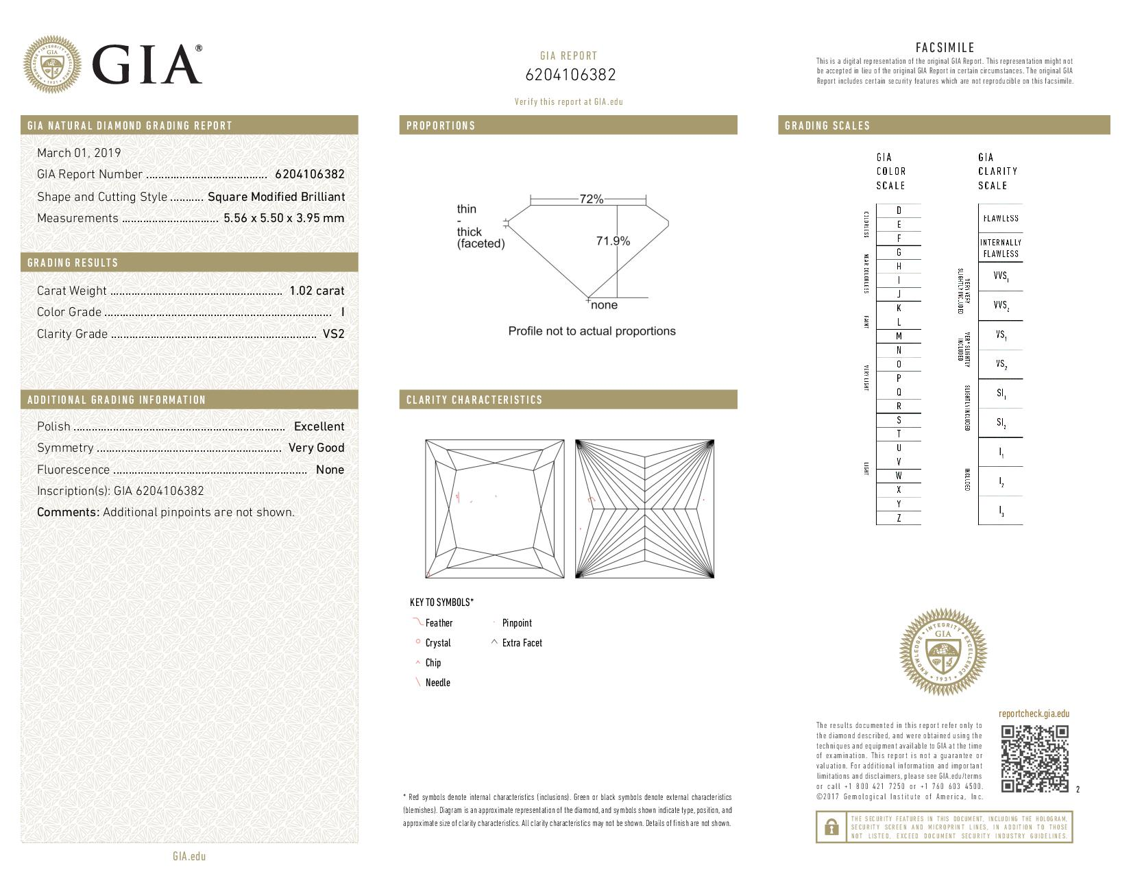 This is a 1.02 carat princess shape, I color, VS2 clarity natural diamond accompanied by a GIA grading report.