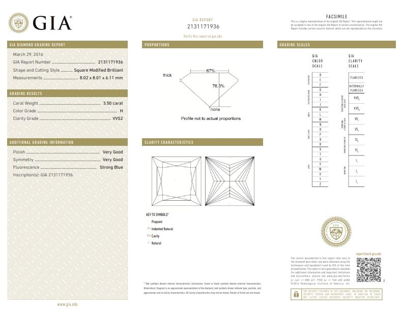 This is a 3.50 carat princess shape, H color, VVS2 clarity natural diamond accompanied by a GIA grading report.