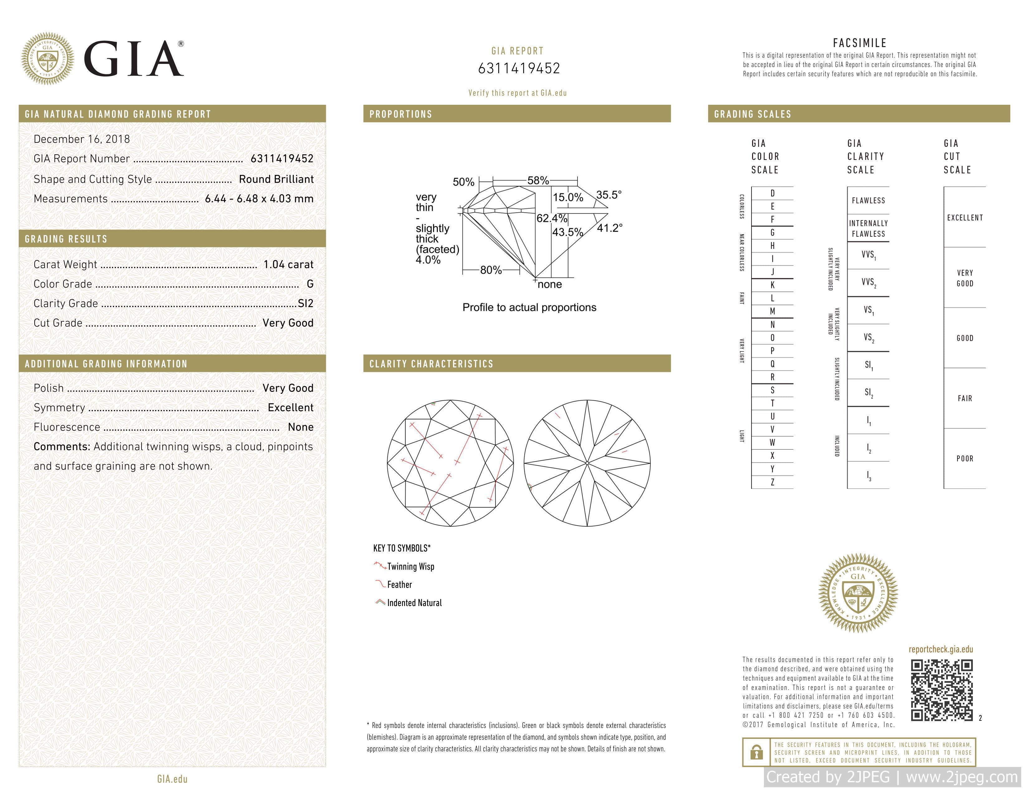 This is a 1.04 carat round shape, G color, SI2 clarity natural diamond accompanied by a GIA grading report.