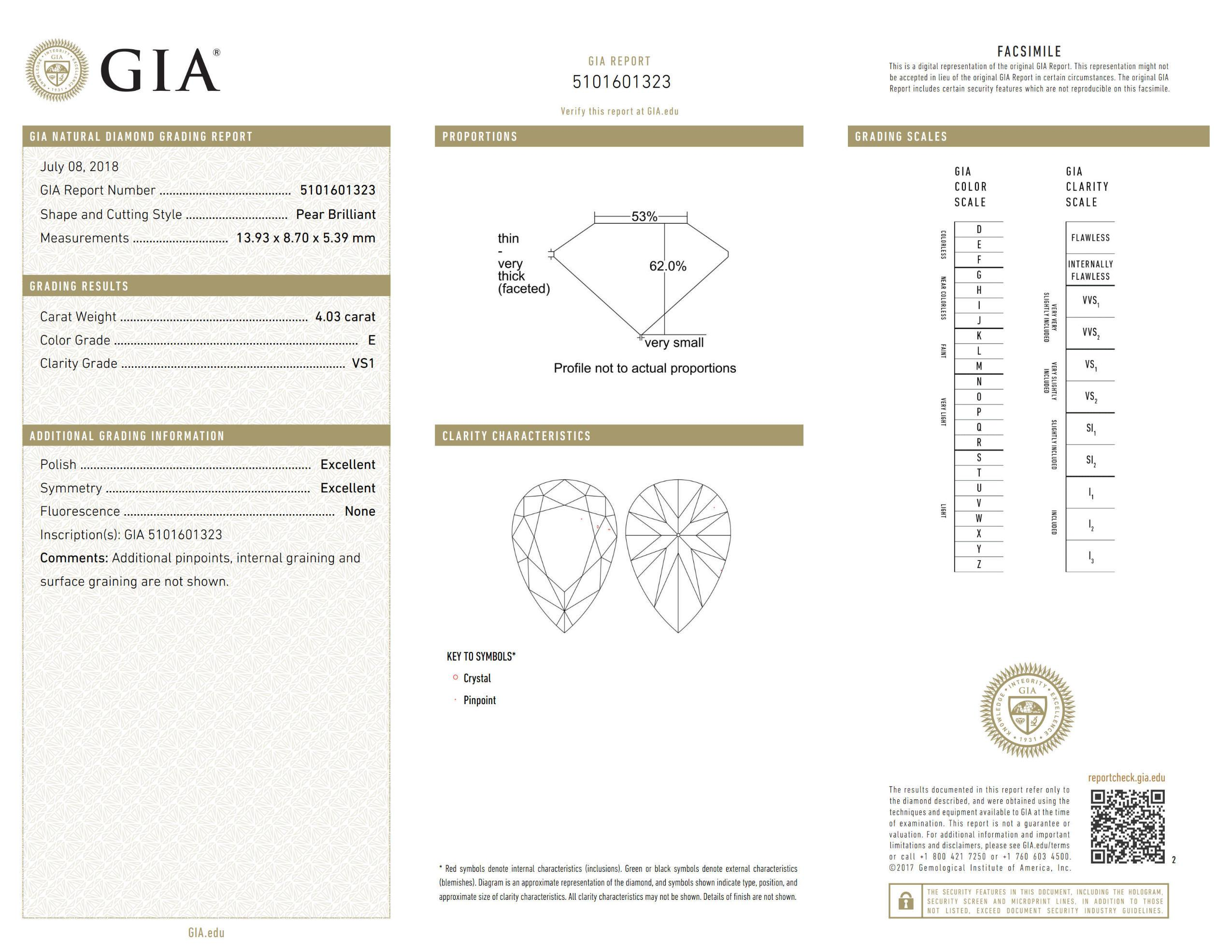 This is a 4.03 carat pear shape, E color, VS1 clarity natural diamond accompanied by a GIA grading report.