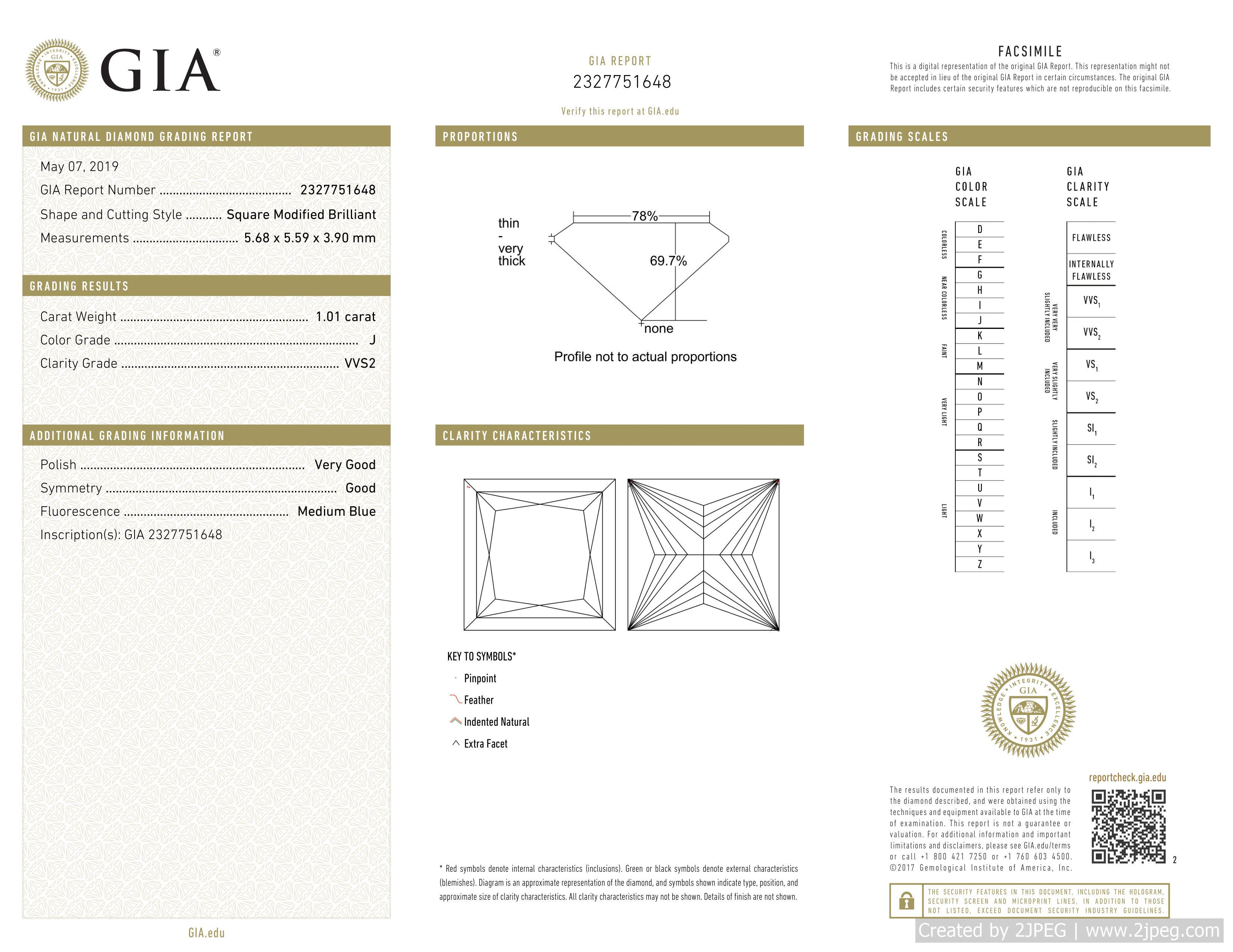 This is a 1.01 carat princess shape, J color, VVS2 clarity natural diamond accompanied by a GIA grading report.