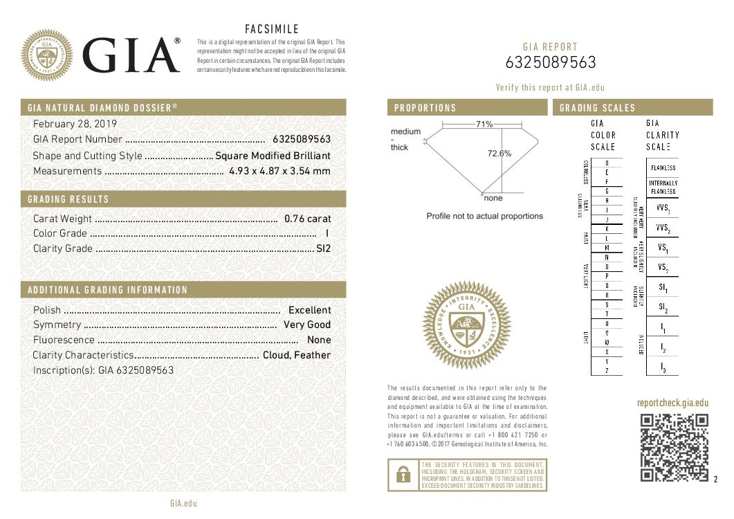 This is a 0.76 carat princess shape, I color, SI2 clarity natural diamond accompanied by a GIA grading report.