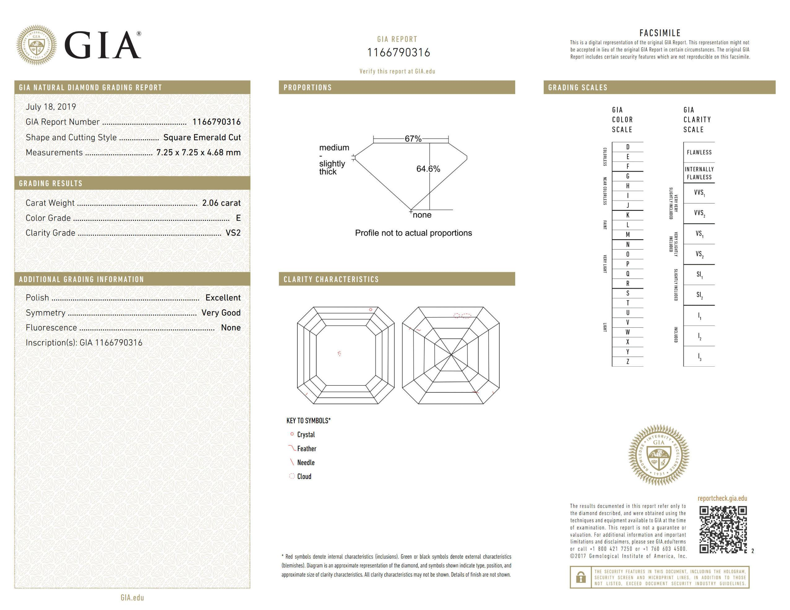 This is a 2.06 carat asscher shape, E color, VS2 clarity natural diamond accompanied by a GIA grading report.