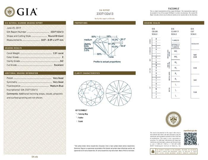 This is a 2.01 carat round shape, E color, SI2 clarity natural diamond accompanied by a GIA grading report.