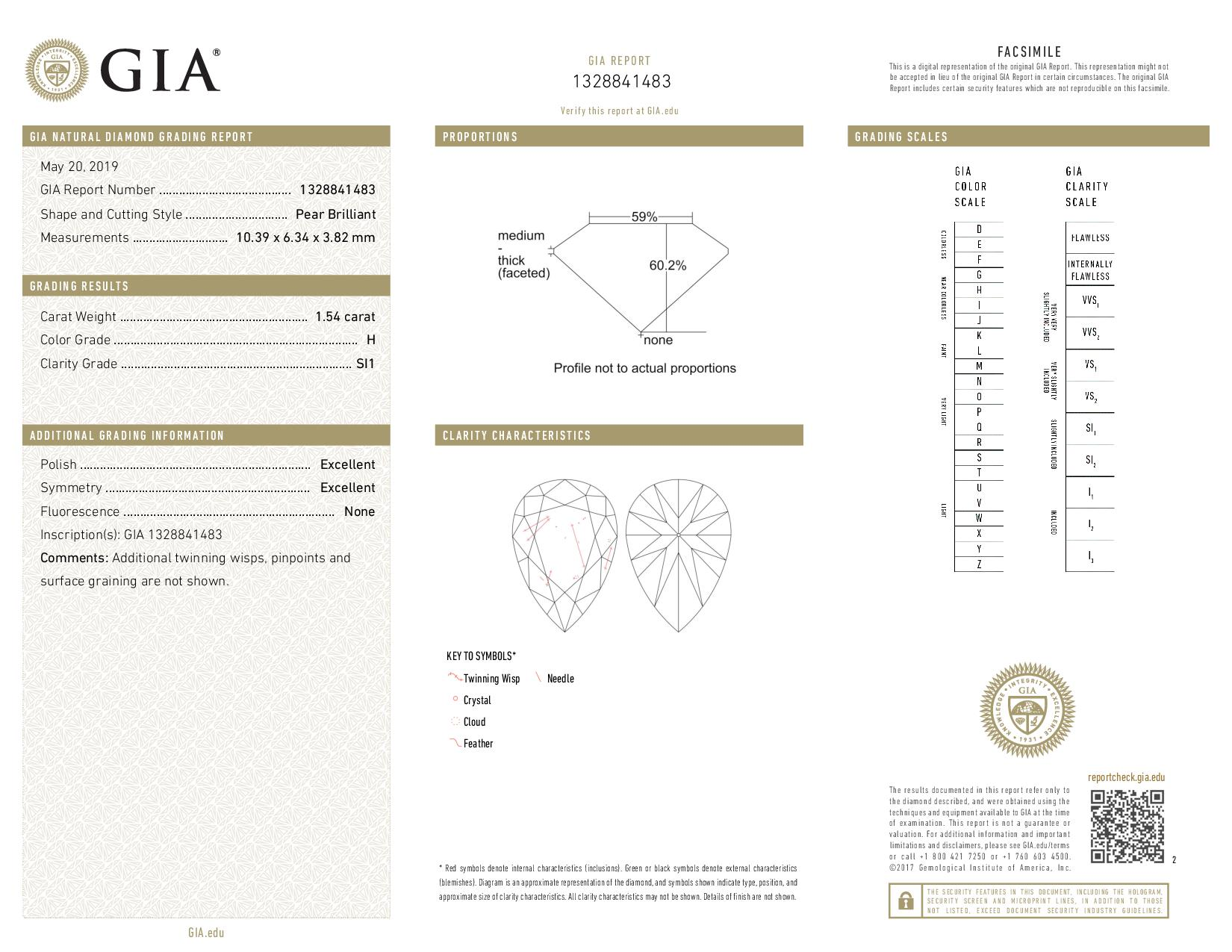 This is a 1.54 carat pear shape, H color, SI1 clarity natural diamond accompanied by a GIA grading report.