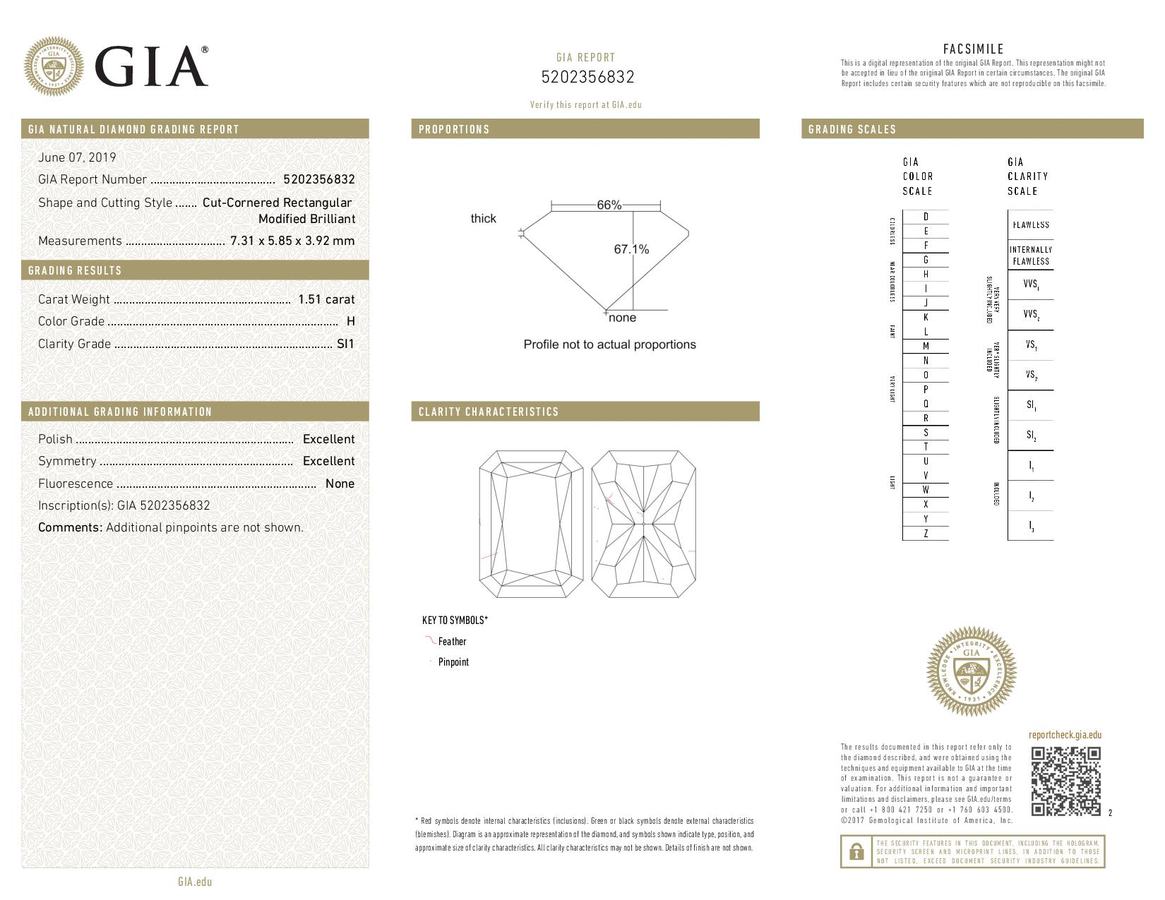 This is a 1.51 carat radiant shape, H color, SI1 clarity natural diamond accompanied by a GIA grading report.
