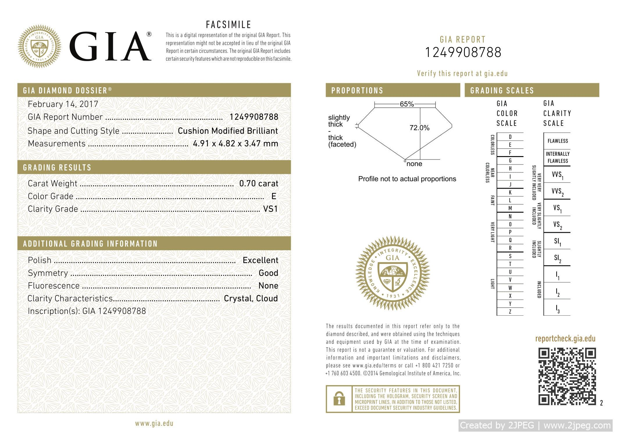 This is a 0.70 carat cushion shape, E color, VS1 clarity natural diamond accompanied by a GIA grading report.
