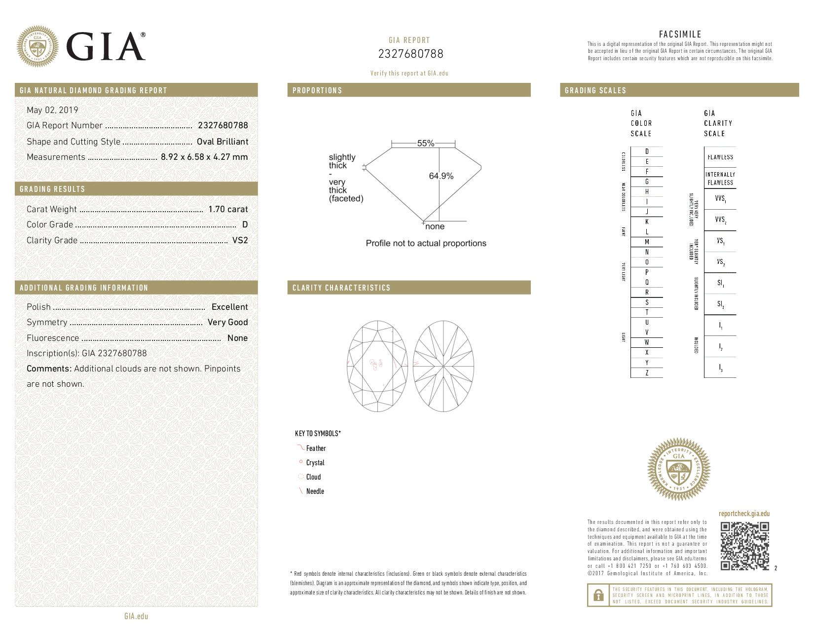 This is a 1.70 carat oval shape, D color, VS2 clarity natural diamond accompanied by a GIA grading report.