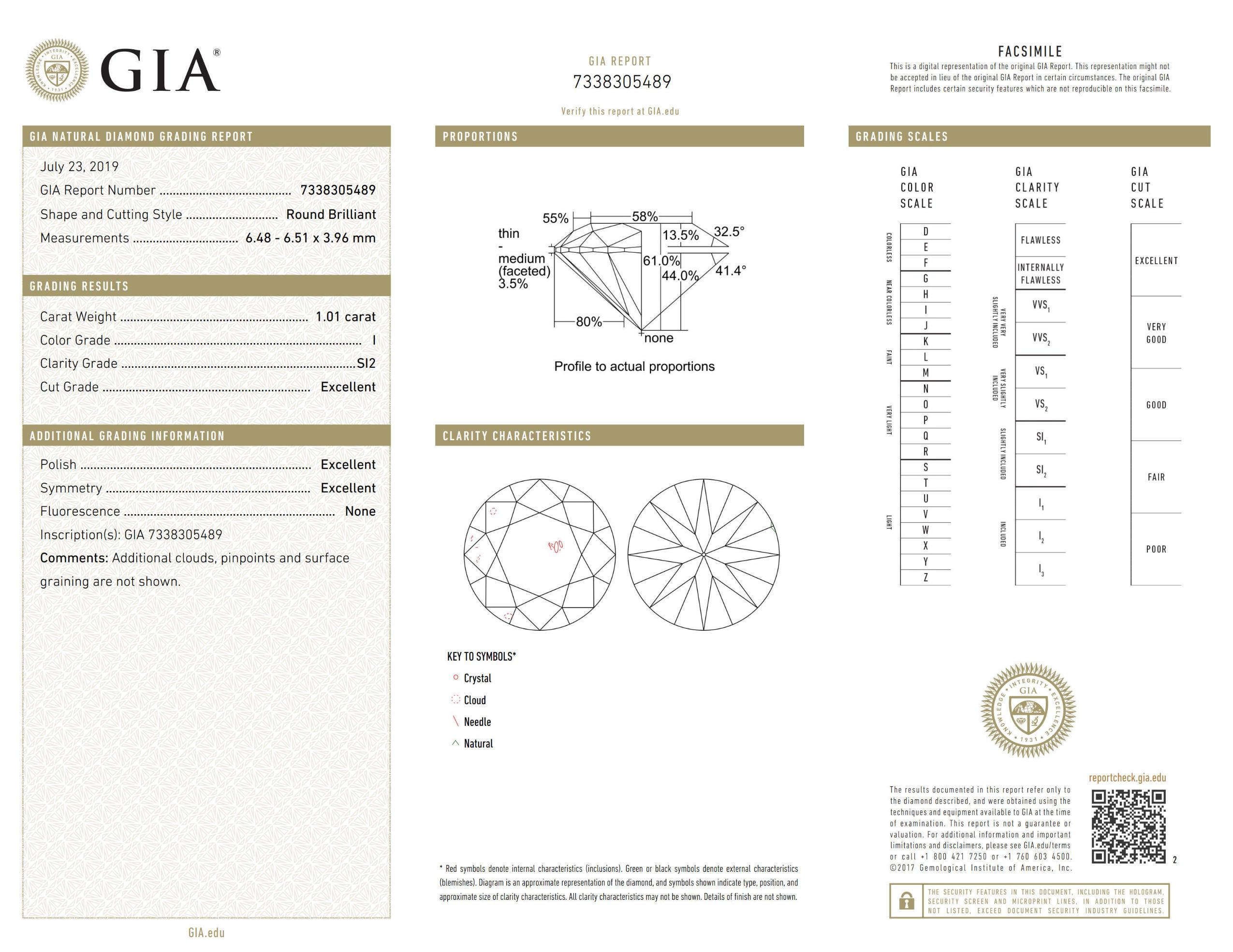 This is a 1.01 carat round shape, I color, SI2 clarity natural diamond accompanied by a GIA grading report.
