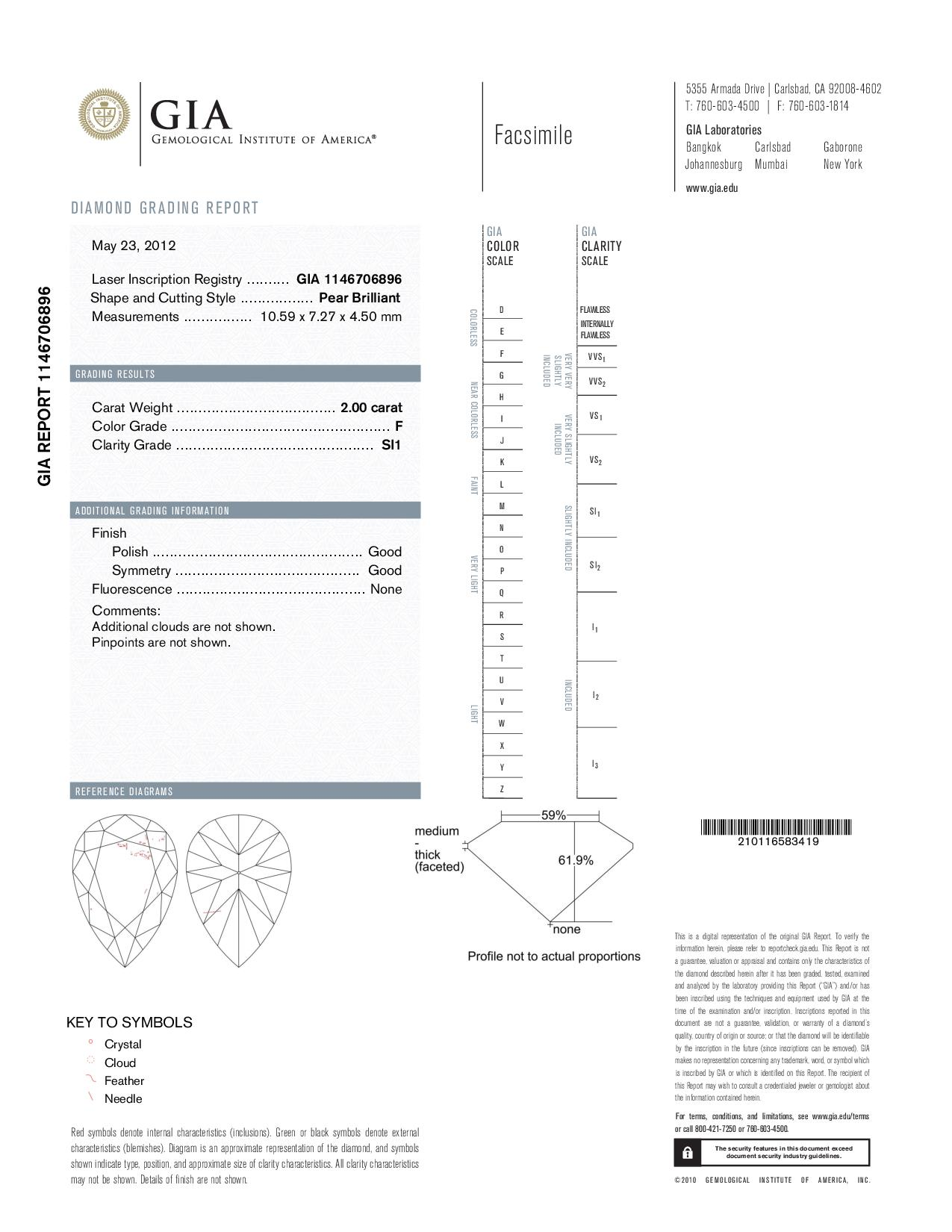 This is a 2.00 carat pear shape, F color, SI1 clarity natural diamond accompanied by a GIA grading report.