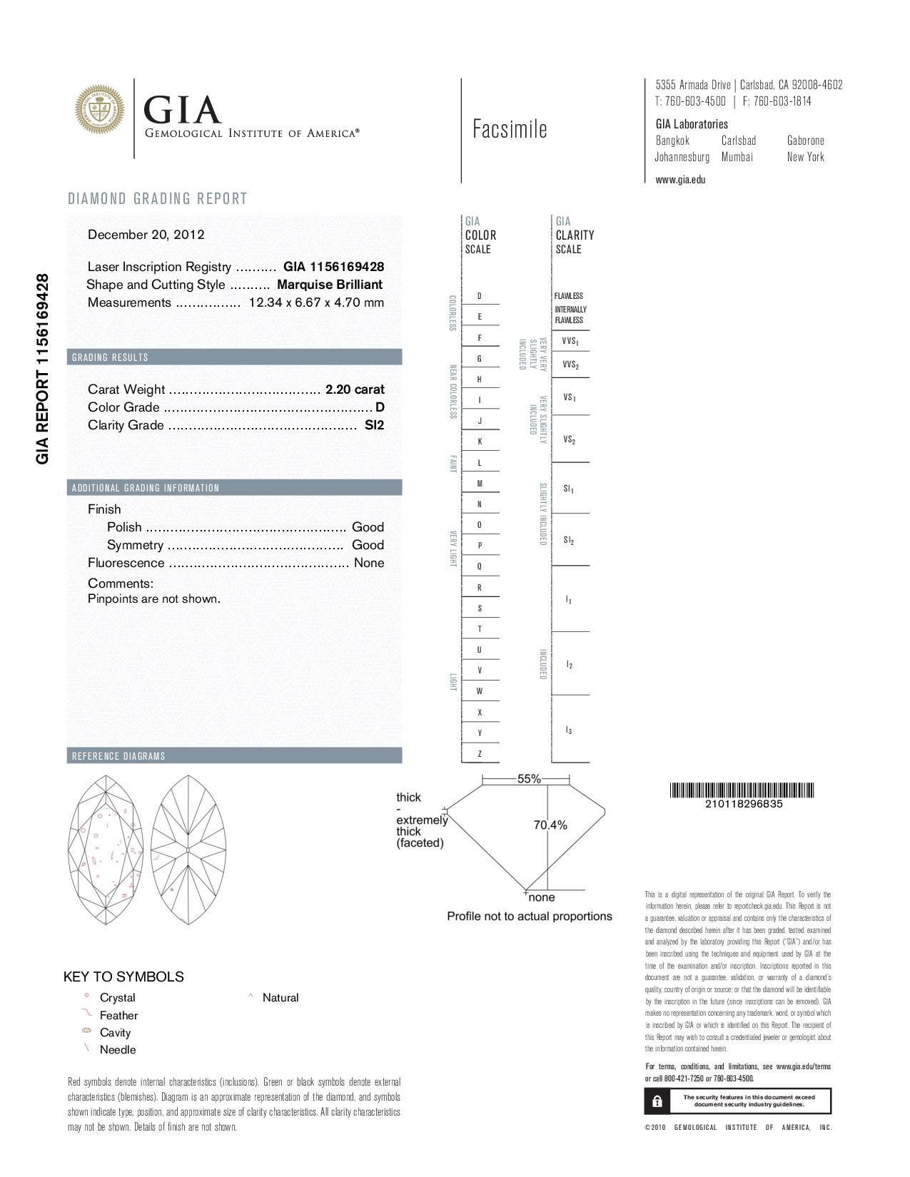 This is a 2.20 carat marquise shape, D color, SI2 clarity natural diamond accompanied by a GIA grading report.