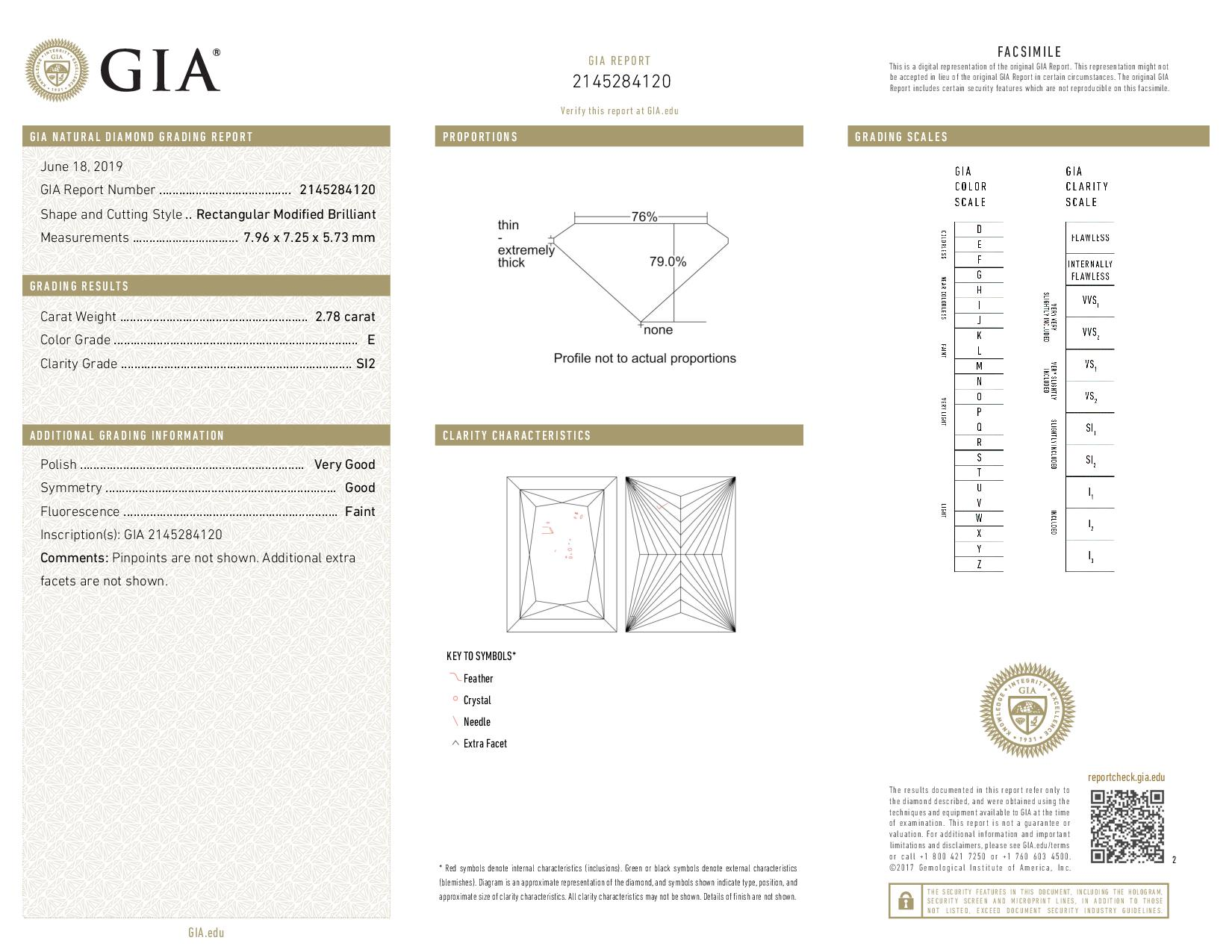 This is a 2.78 carat princess shape, E color, SI2 clarity natural diamond accompanied by a GIA grading report.