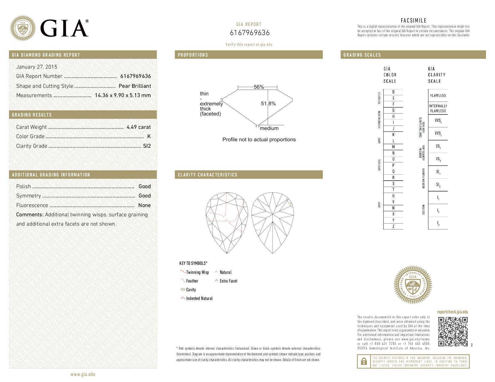 This is a 4.49 carat pear shape, K color, SI2 clarity natural diamond accompanied by a GIA grading report.