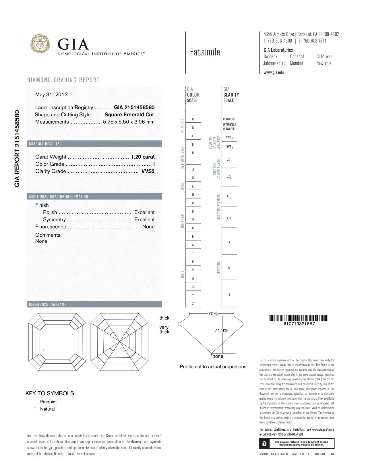 This is a 1.20 carat asscher shape, I color, VVS2 clarity natural diamond accompanied by a GIA grading report.