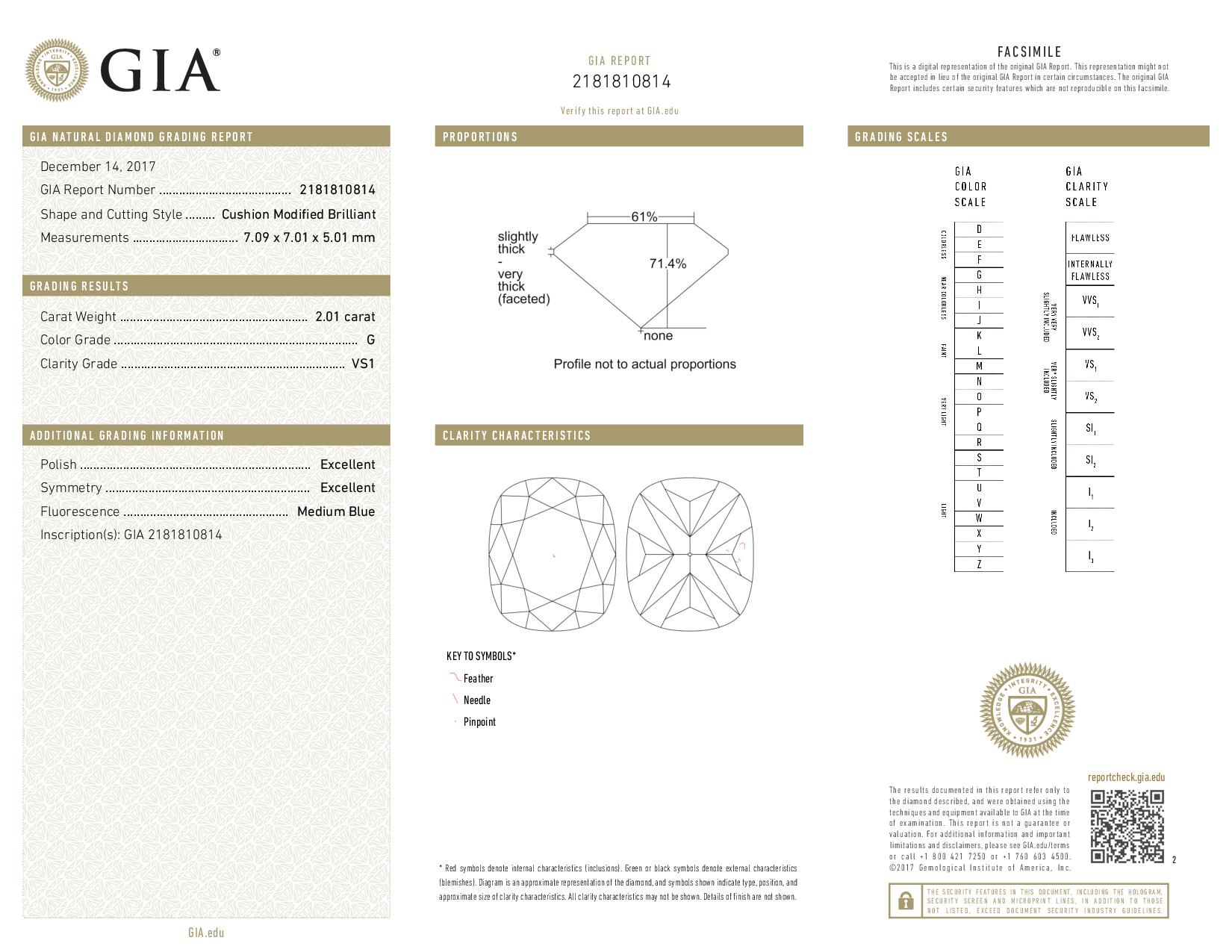 This is a 2.01 carat cushion shape, G color, VS1 clarity natural diamond accompanied by a GIA grading report.