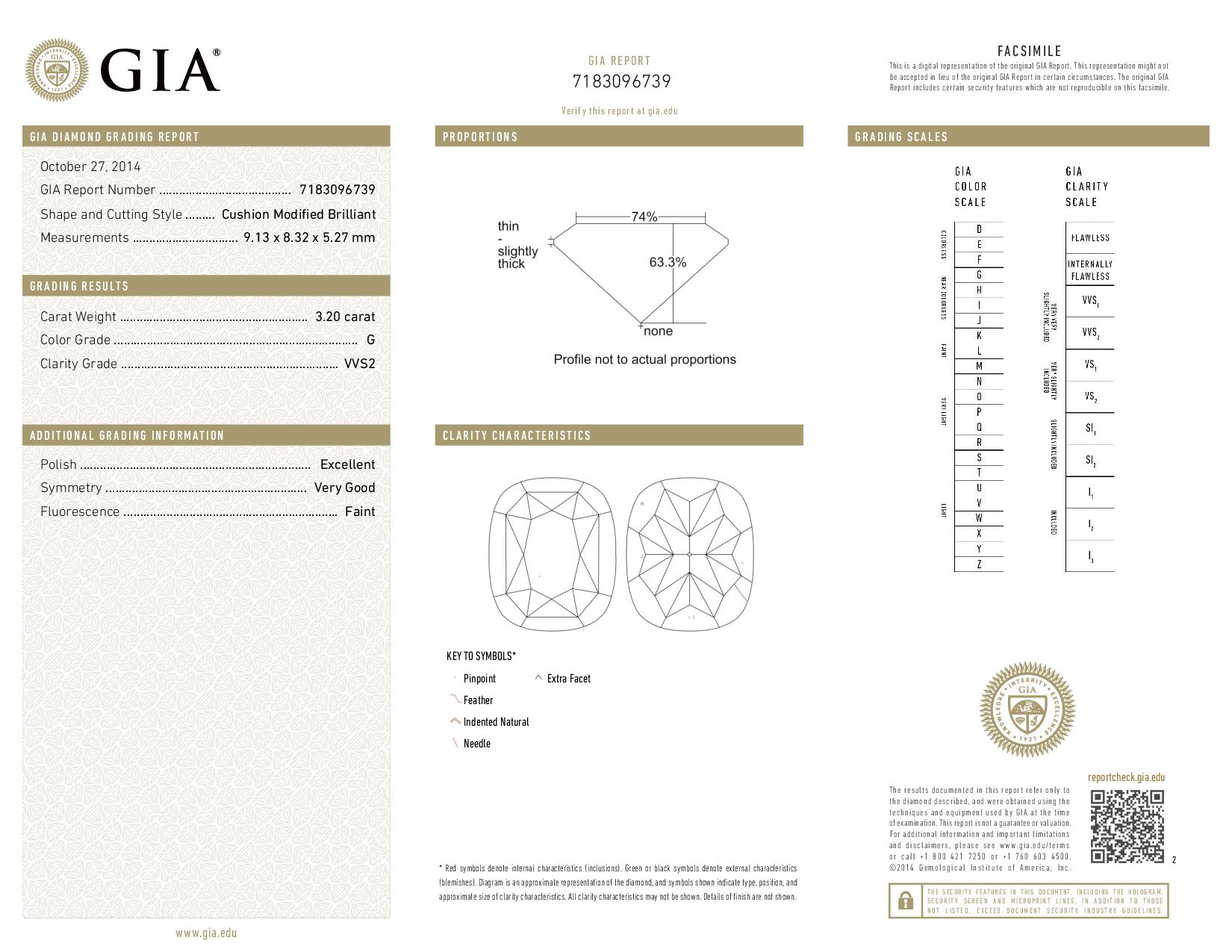 This is a 3.20 carat cushion shape, G color, VVS2 clarity natural diamond accompanied by a GIA grading report.