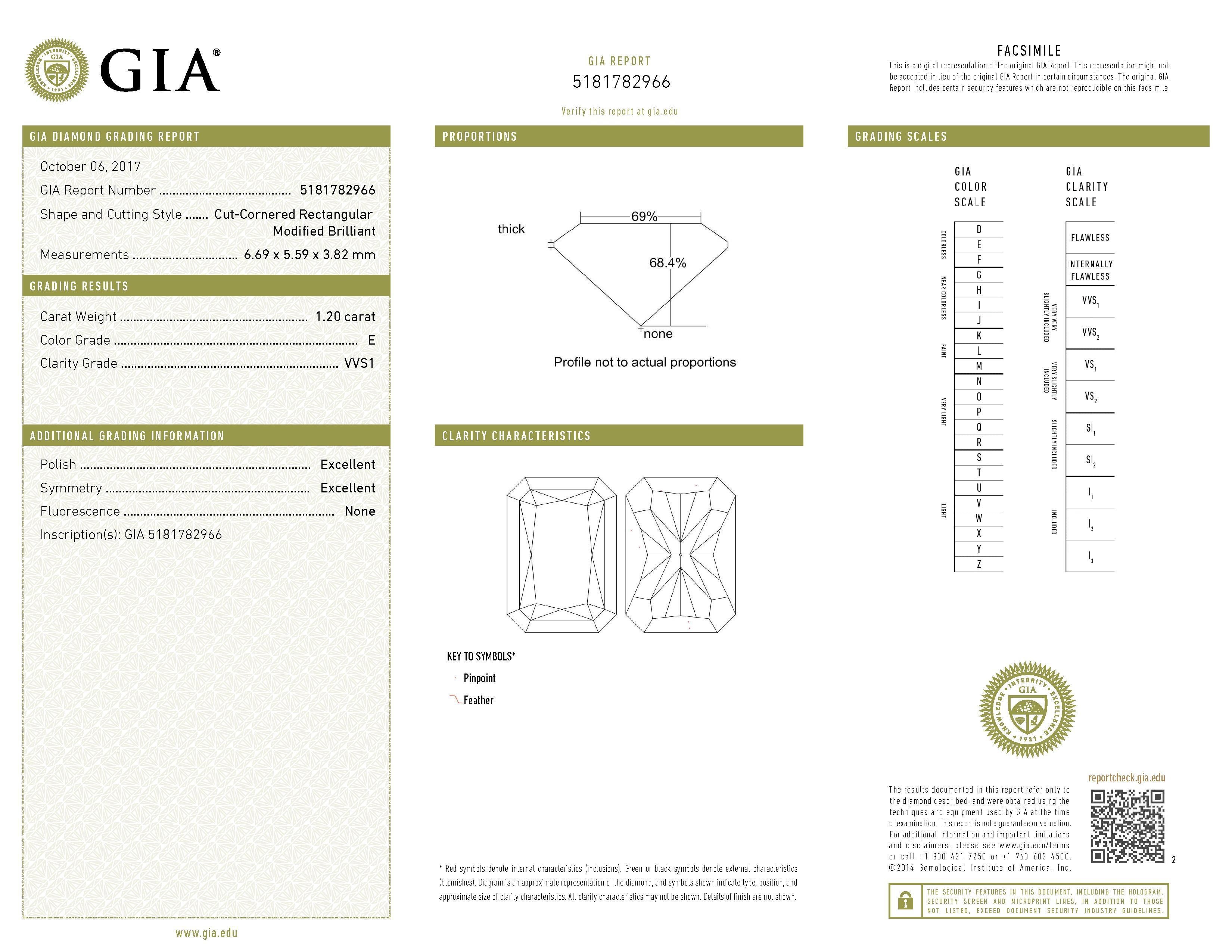 This is a 1.20 carat radiant shape, E color, VVS1 clarity natural diamond accompanied by a GIA grading report.