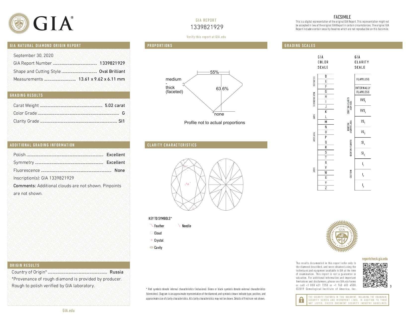 This is a 5.02 carat oval shape, G color, SI1 clarity natural diamond accompanied by a GIA grading report.