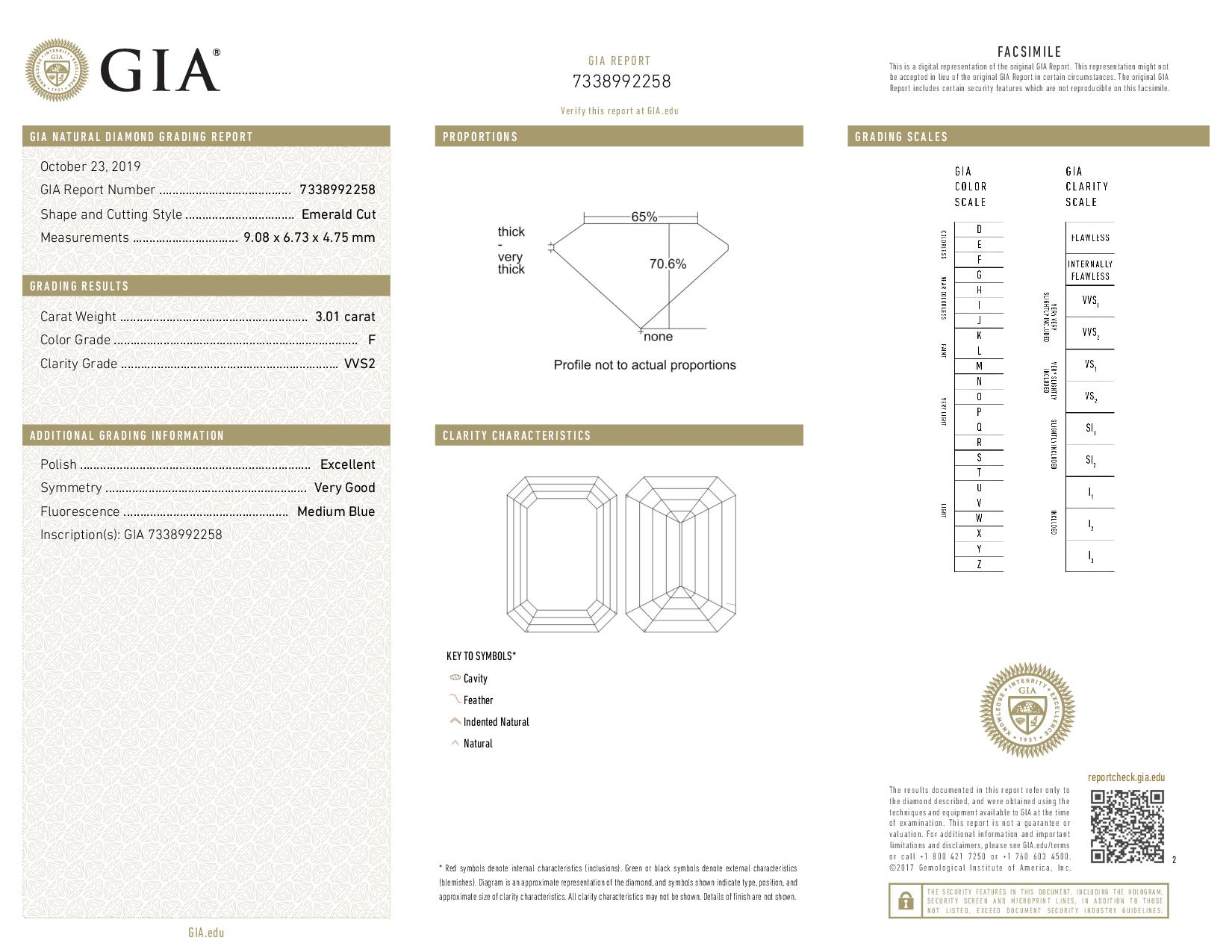 This is a 3.01 carat emerald shape, F color, VVS2 clarity natural diamond accompanied by a GIA grading report.