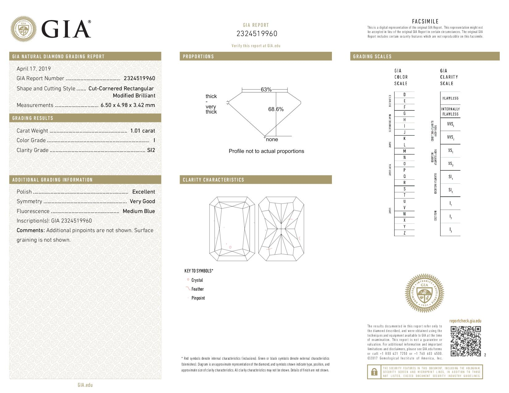 This is a 1.01 carat radiant shape, I color, SI2 clarity natural diamond accompanied by a GIA grading report.