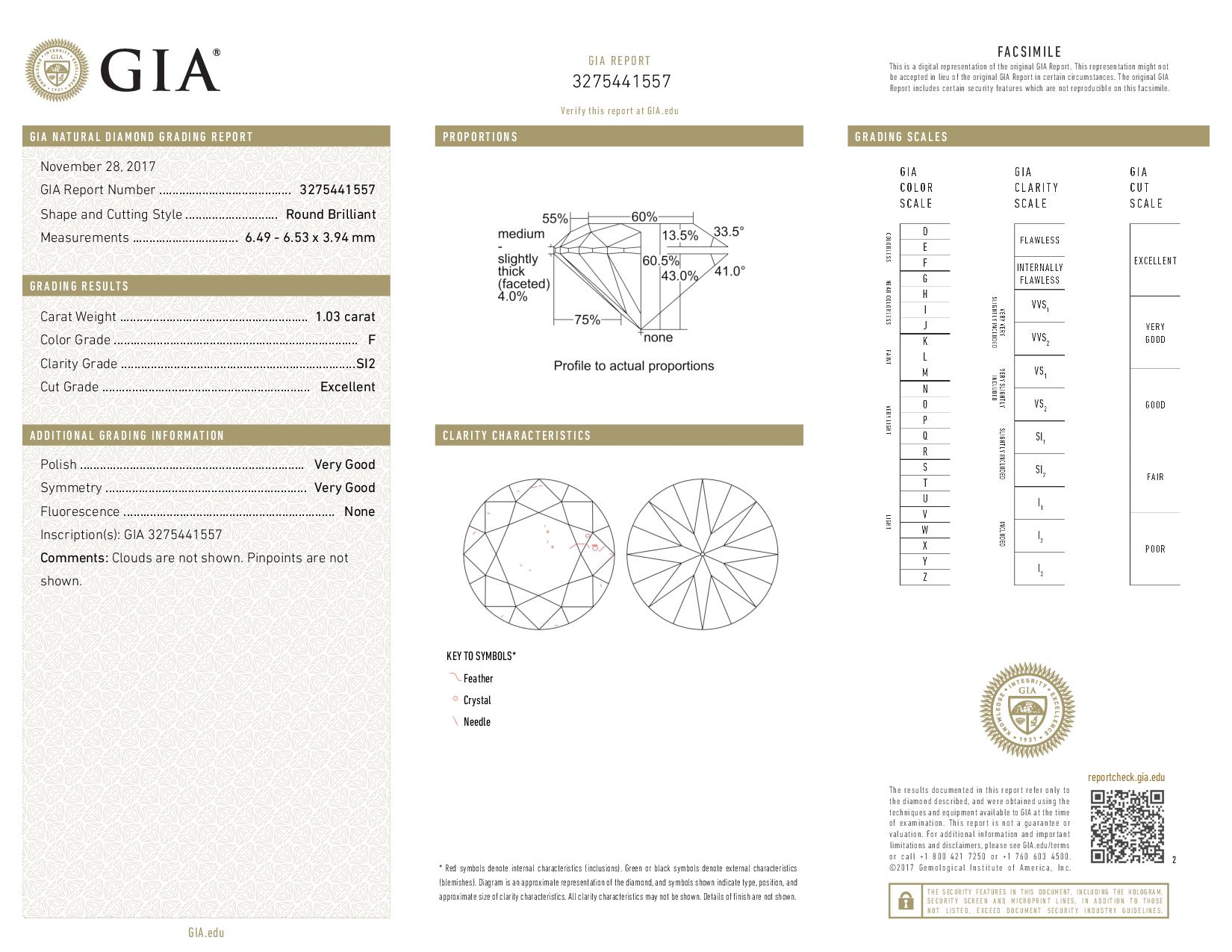 This is a 1.03 carat round shape, F color, SI2 clarity natural diamond accompanied by a GIA grading report.