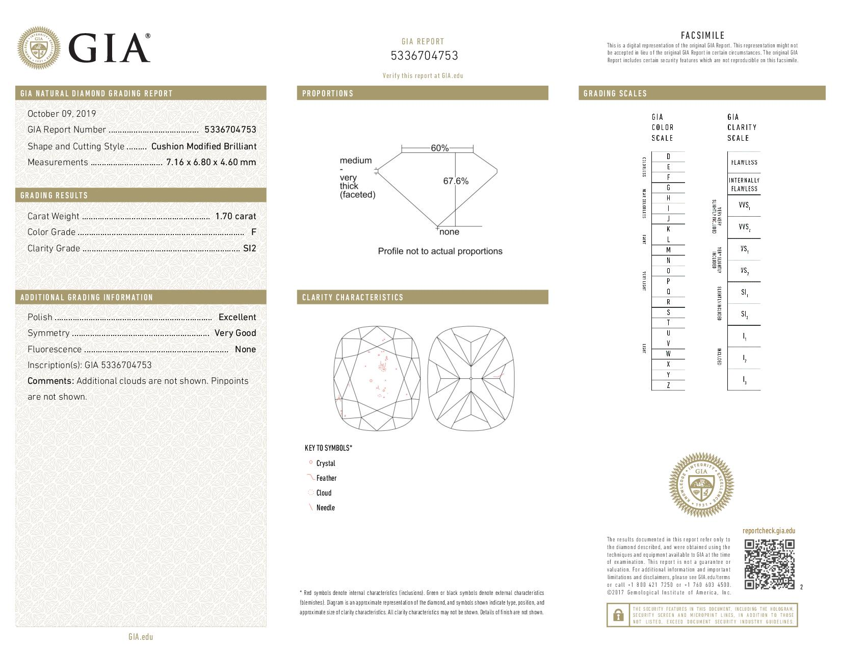 This is a 1.70 carat cushion shape, F color, SI2 clarity natural diamond accompanied by a GIA grading report.