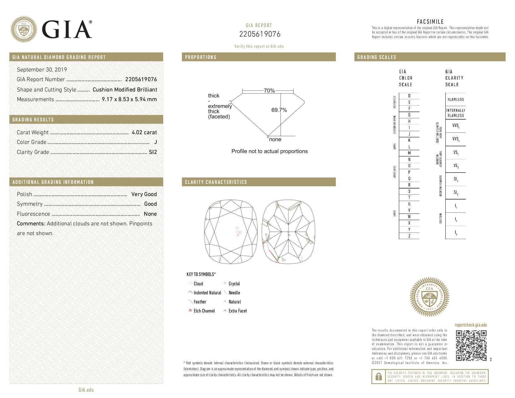 This is a 4.02 carat cushion shape, J color, SI2 clarity natural diamond accompanied by a GIA grading report.