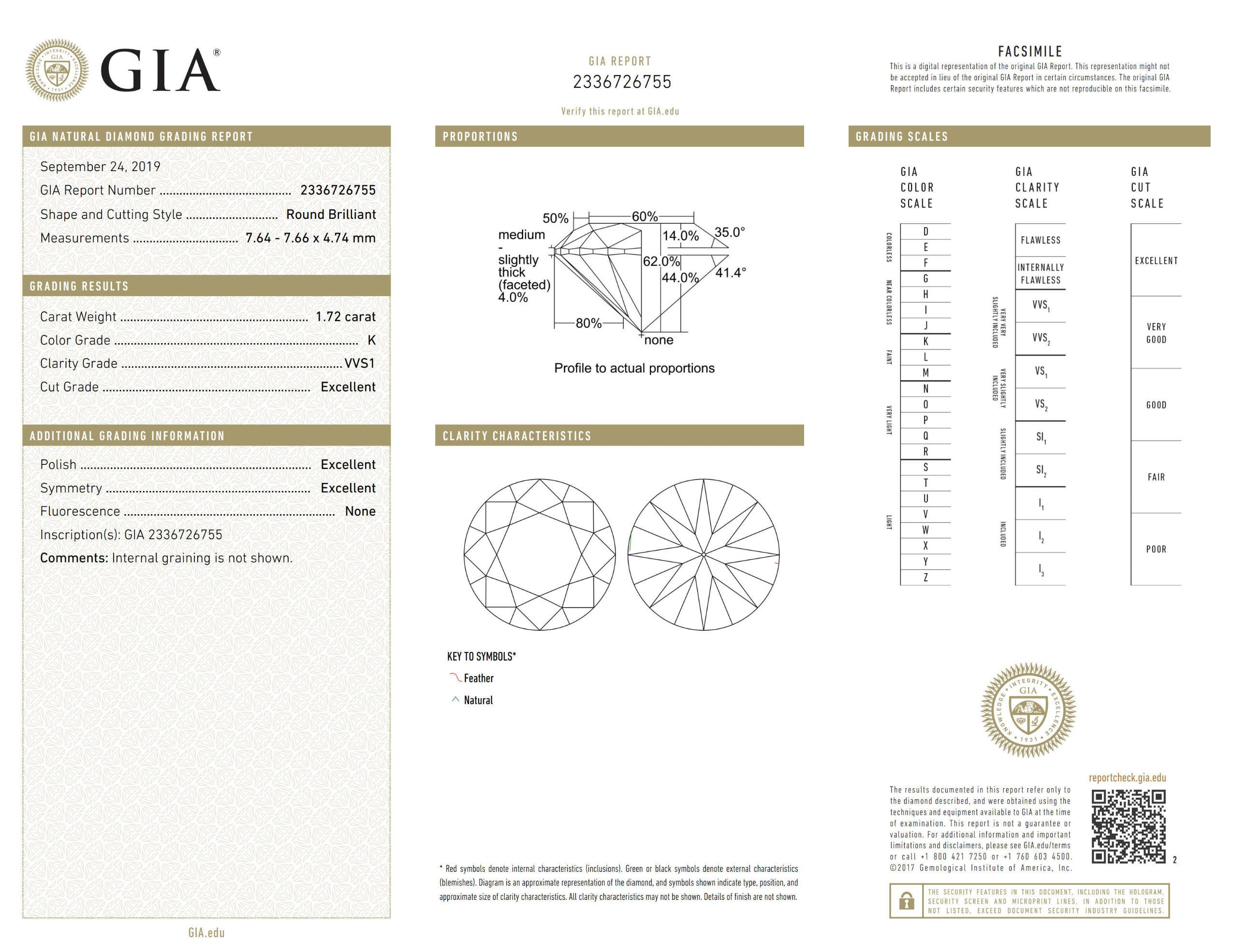 This is a 1.72 carat round shape, K color, VVS1 clarity natural diamond accompanied by a GIA grading report.